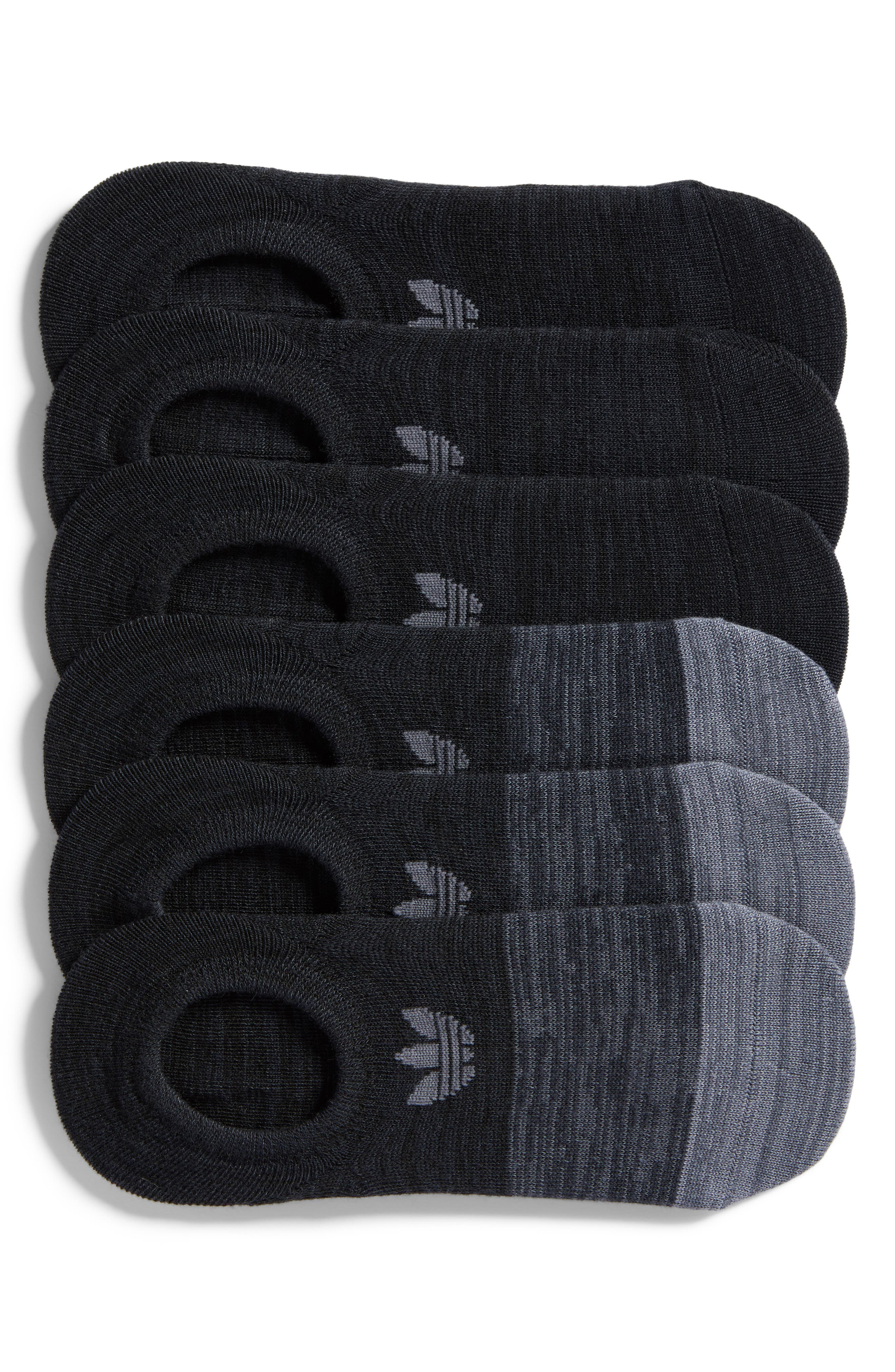 Block Space Dye 6-Pack Super No-Show Socks,                             Main thumbnail 1, color,                             Black