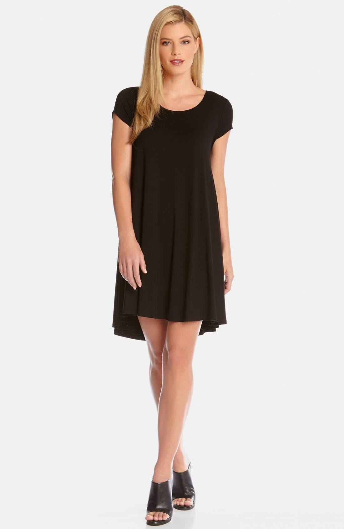 'Maggie' Cap Sleeve Trapeze Dress,                             Main thumbnail 1, color,                             Black