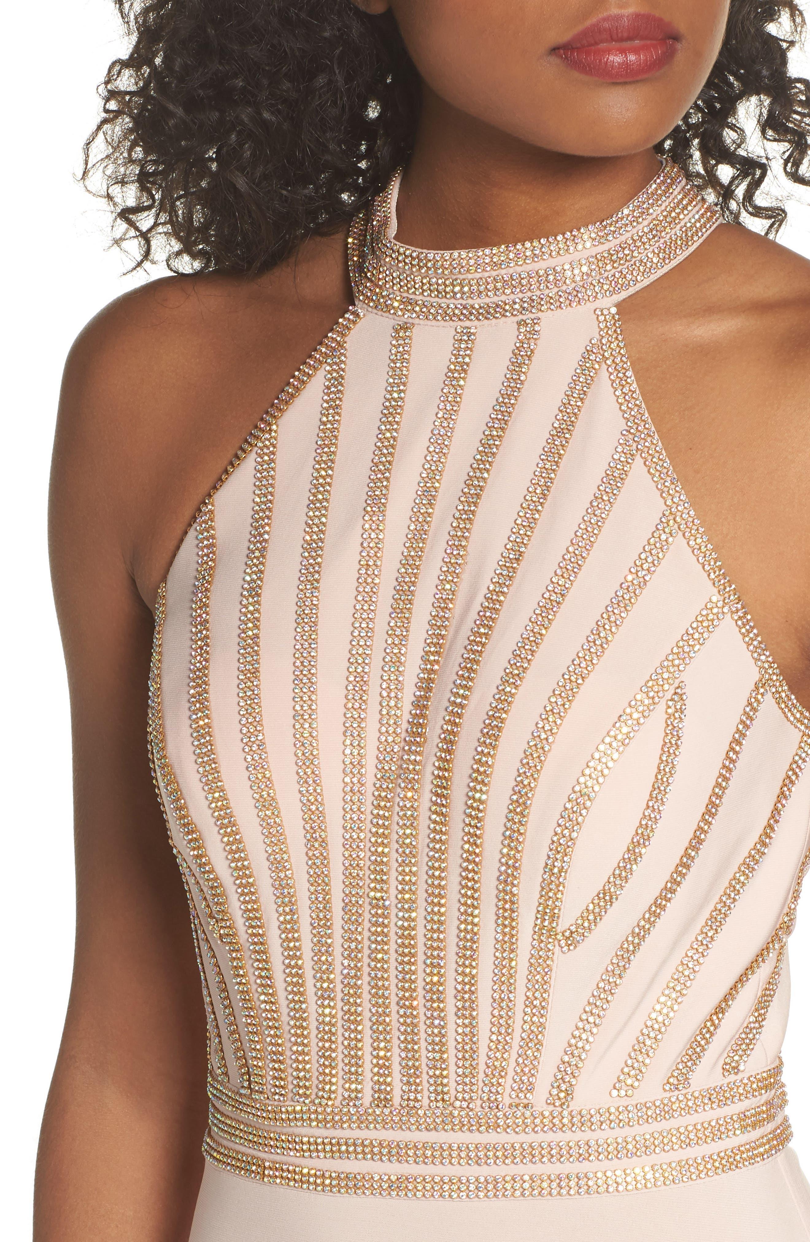 Embellished Halter Neck Gown,                             Alternate thumbnail 4, color,                             Blush/ Gold