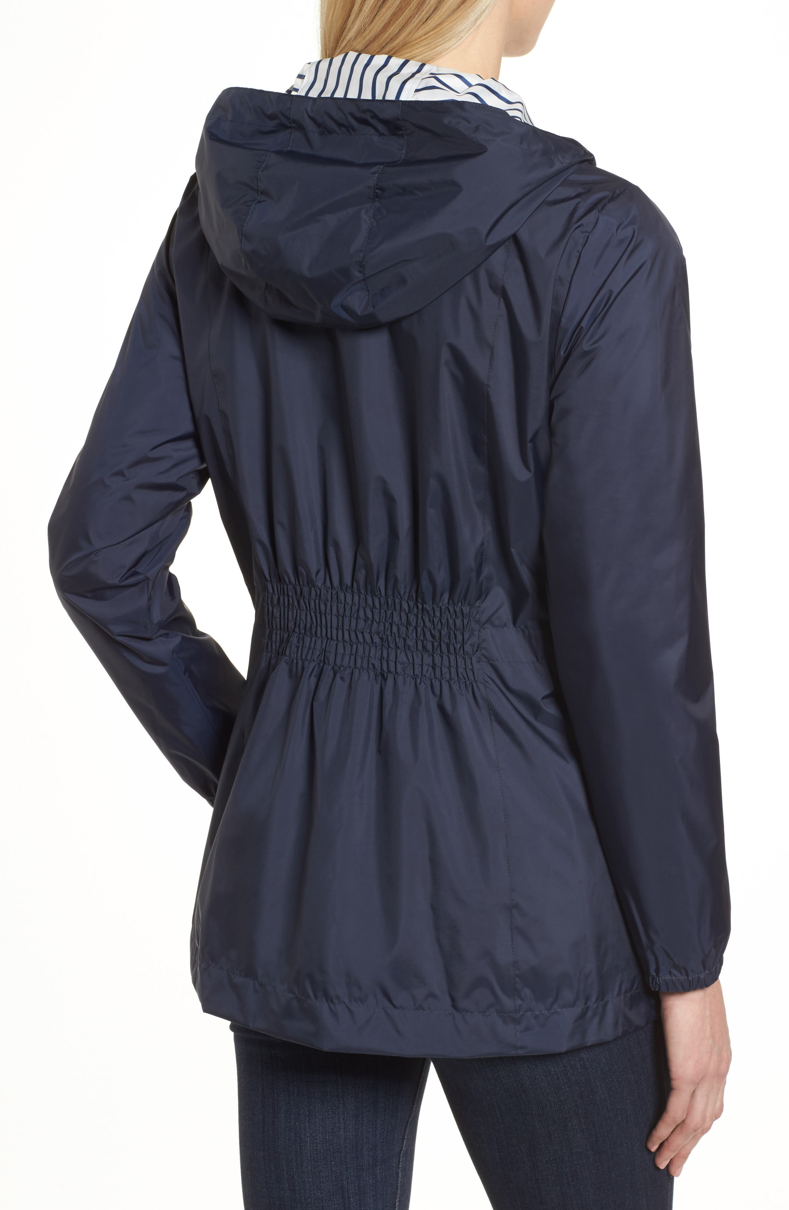 Solid to Stripe Reversible Jacket,                             Alternate thumbnail 3, color,                             Navy
