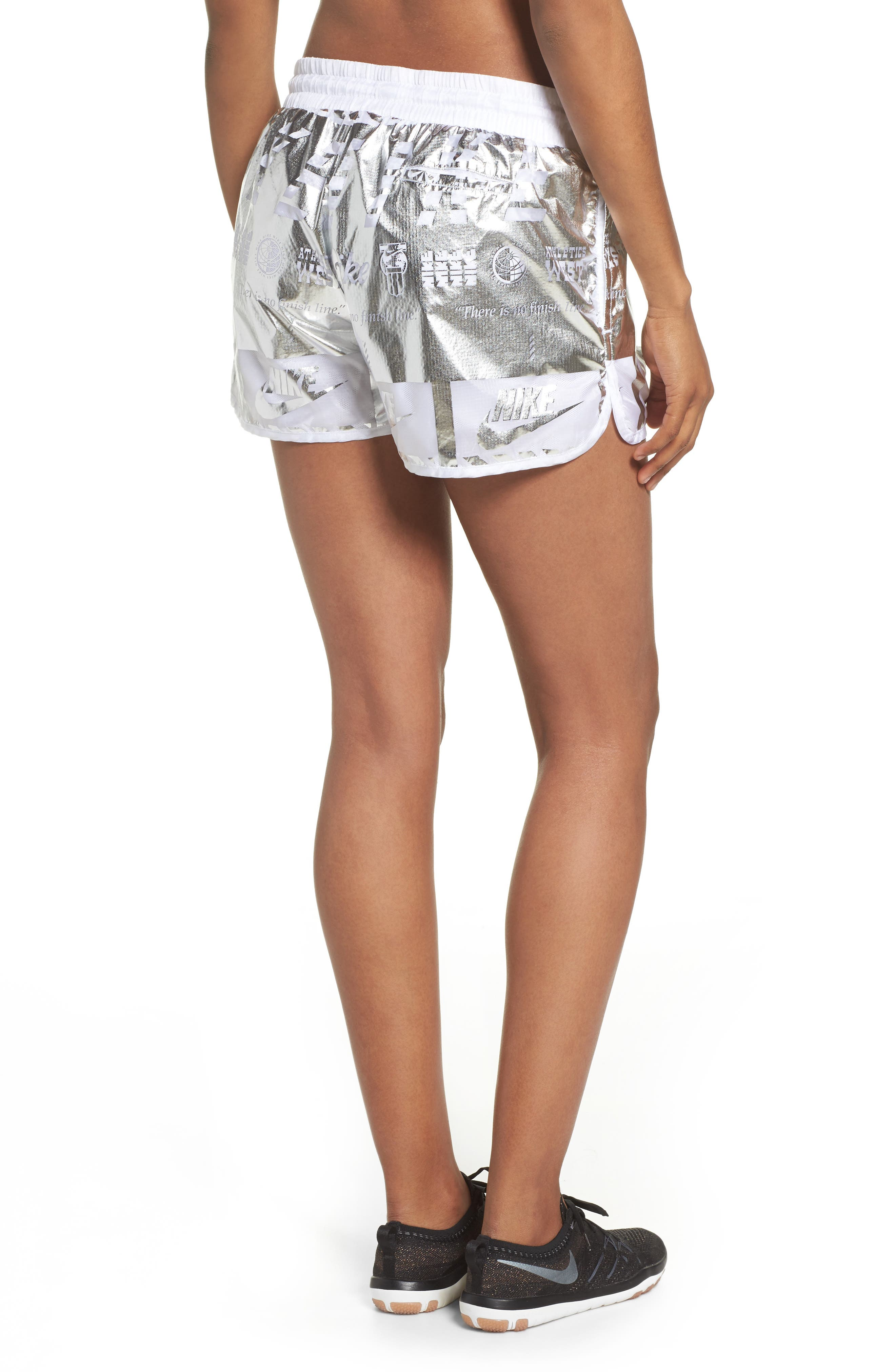 Sportswear Women's Metallic Shorts,                             Alternate thumbnail 2, color,                             White/ White