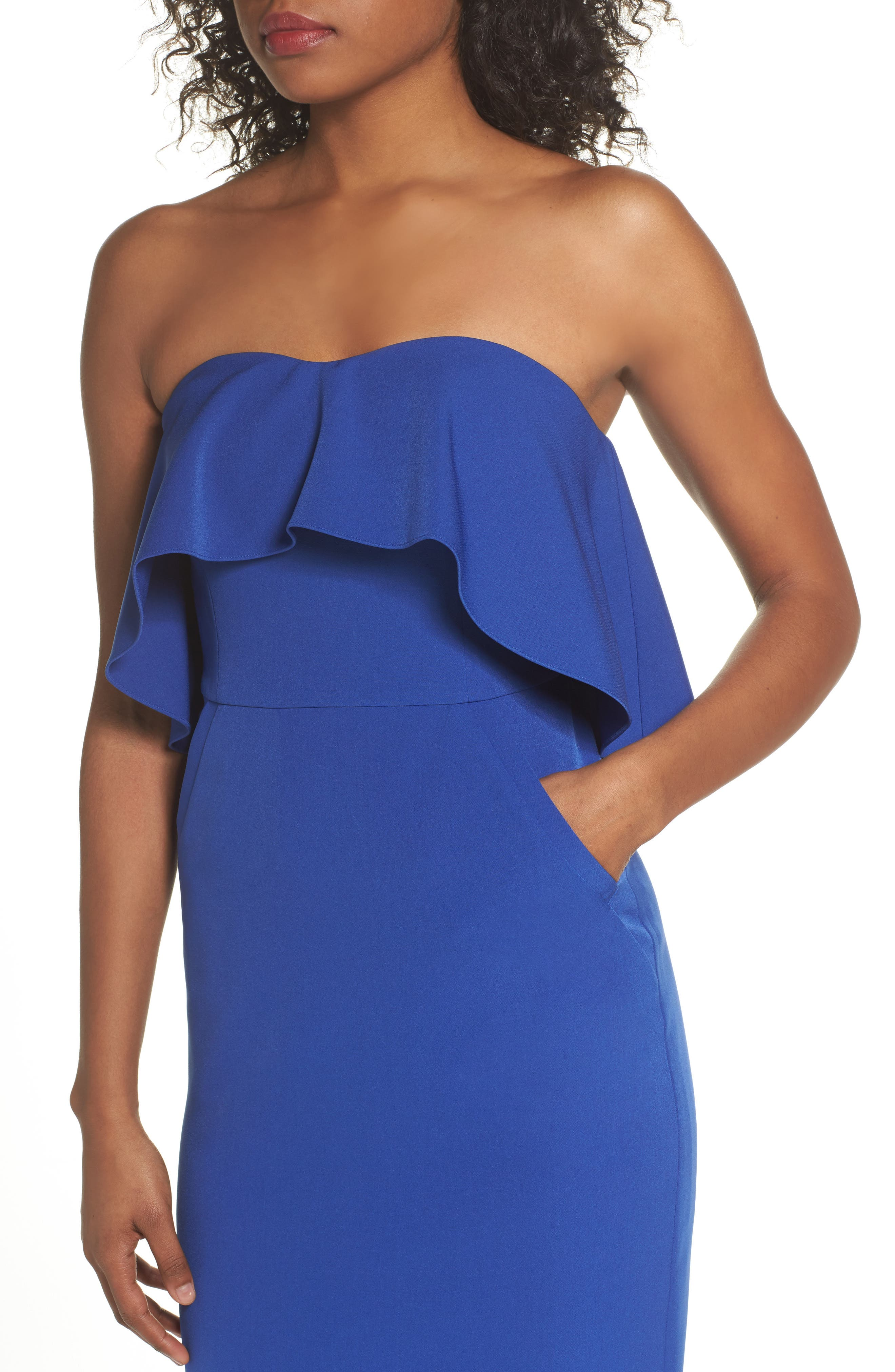 Ruffle Stretch Crepe Sheath Dress,                             Alternate thumbnail 4, color,                             Blue Surf