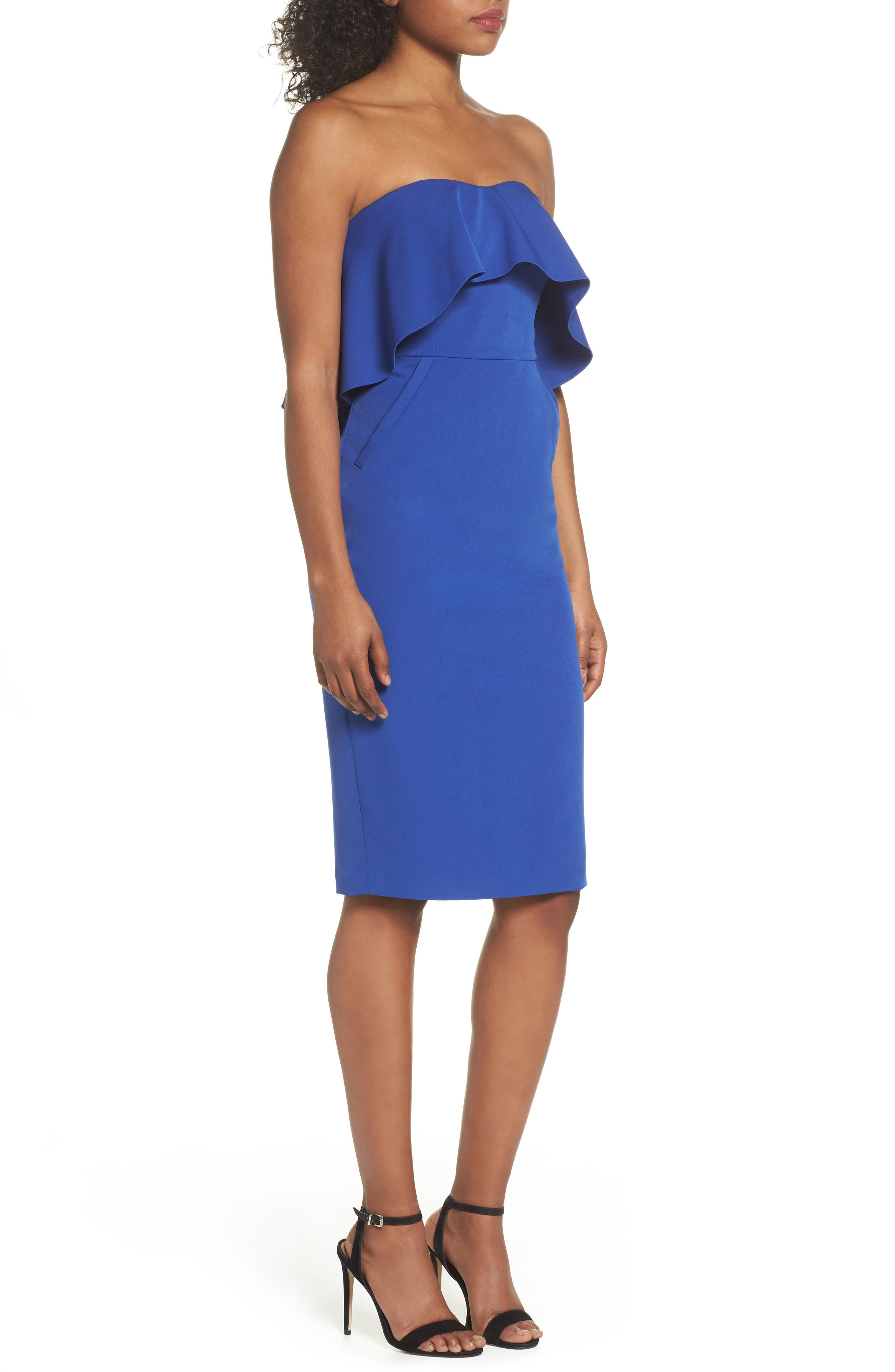 Ruffle Stretch Crepe Sheath Dress,                             Alternate thumbnail 3, color,                             Blue Surf