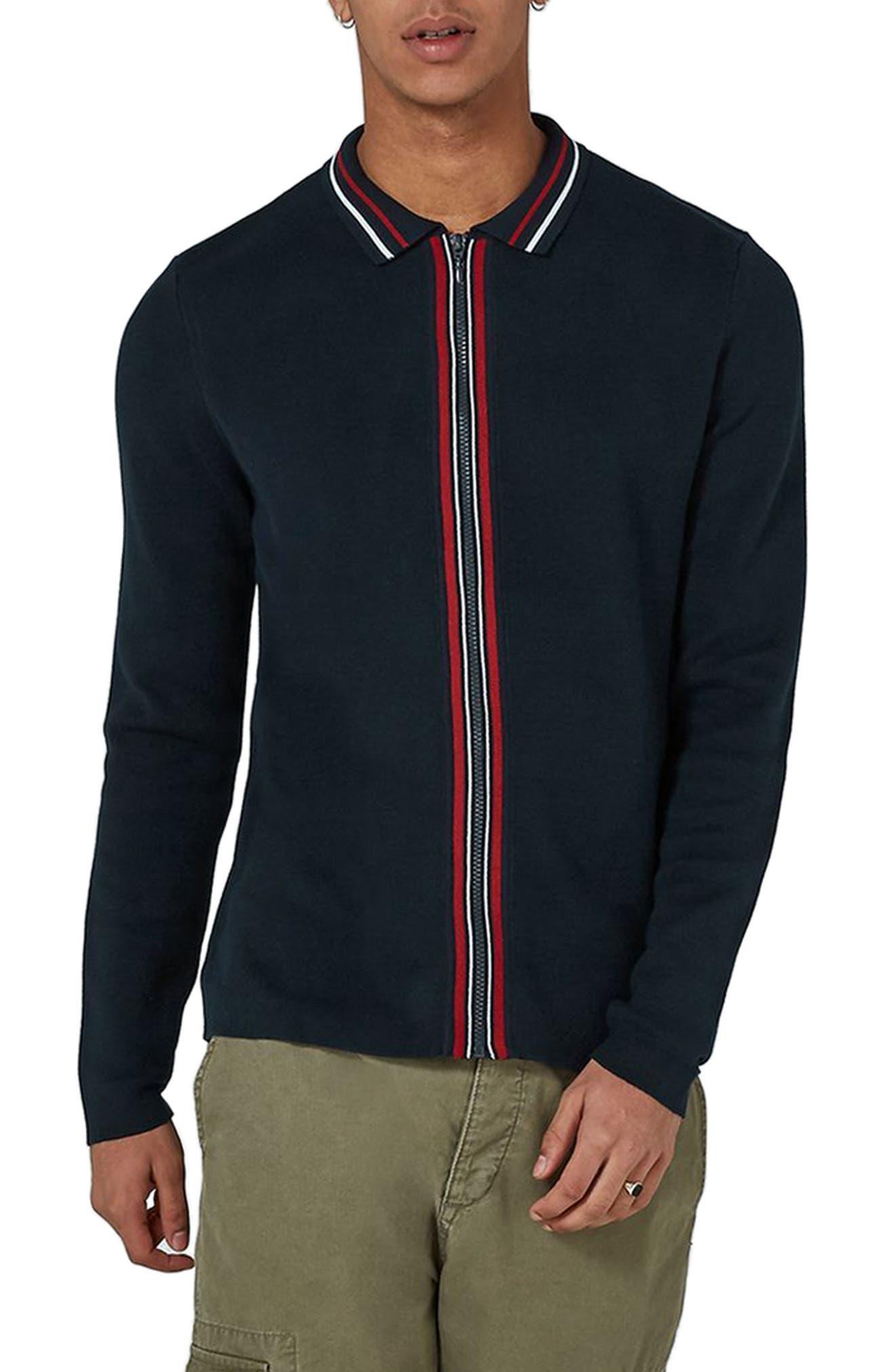 Stripe Knit Zip Front Harrington Sweatshirt,                             Main thumbnail 1, color,                             Navy Blue Multi