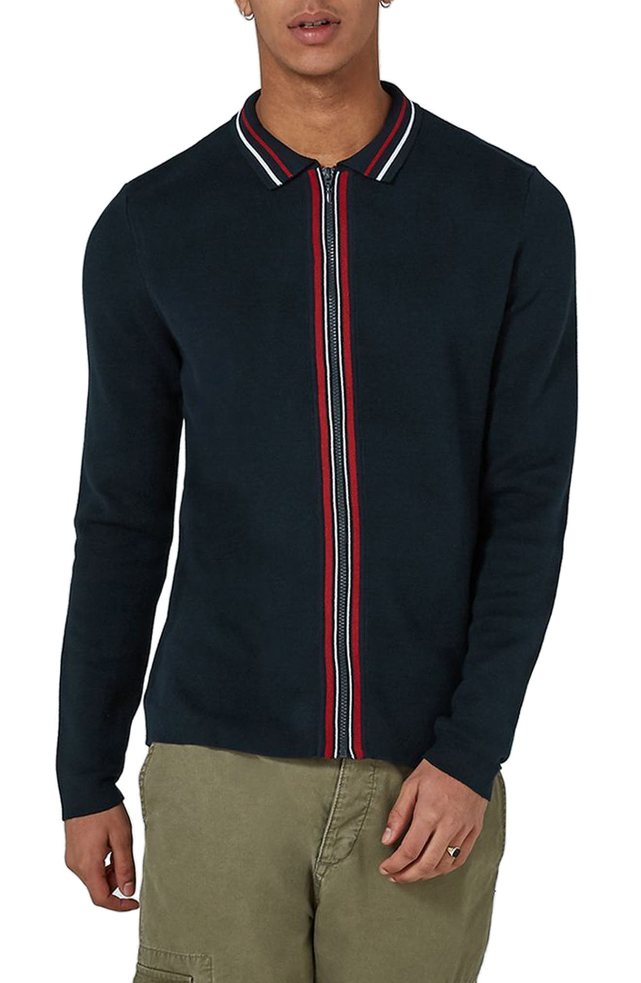 Topman Stripe Knit Zip Front Harrington Sweatshirt