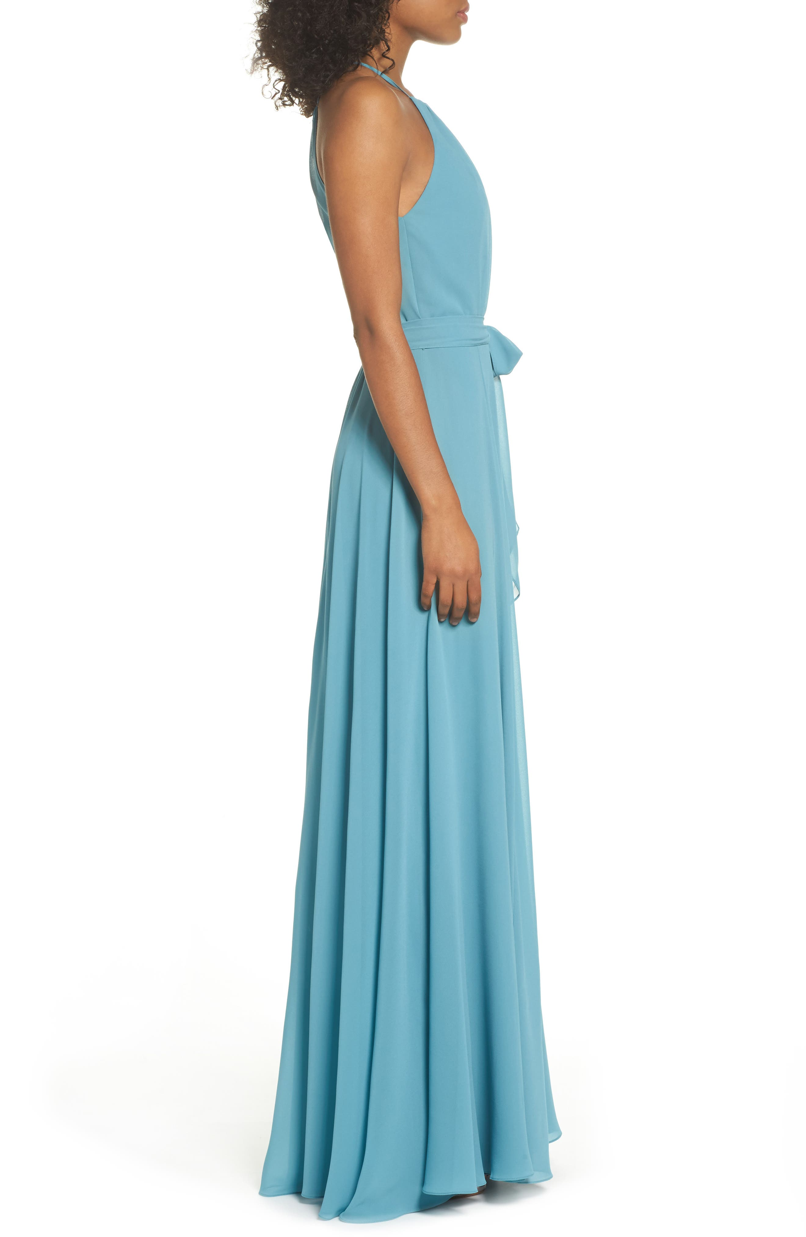 Kyra Chiffon Halter Gown,                             Alternate thumbnail 3, color,                             Teal