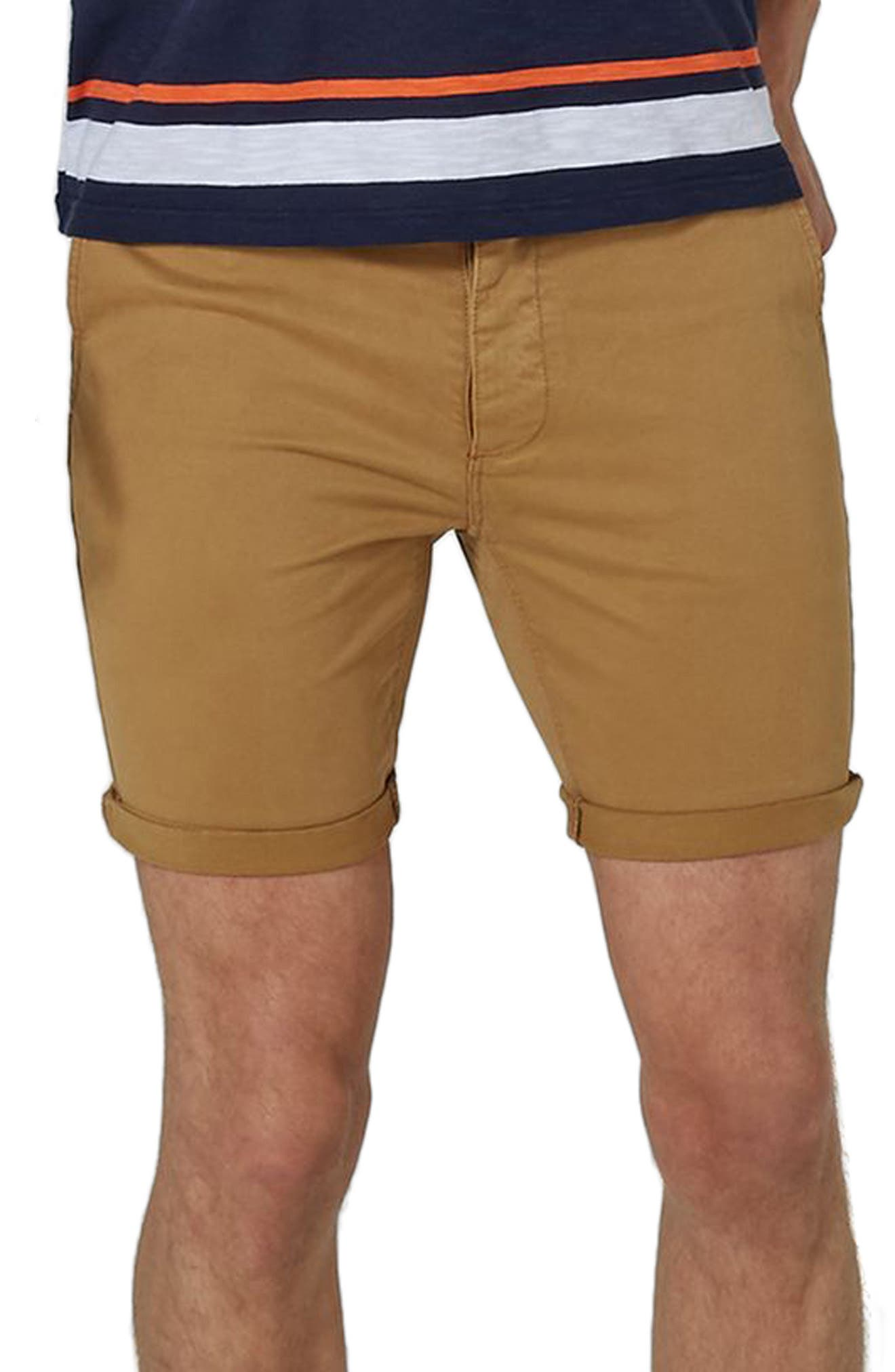 Stretch Skinny Chino Shorts,                         Main,                         color, Yellow