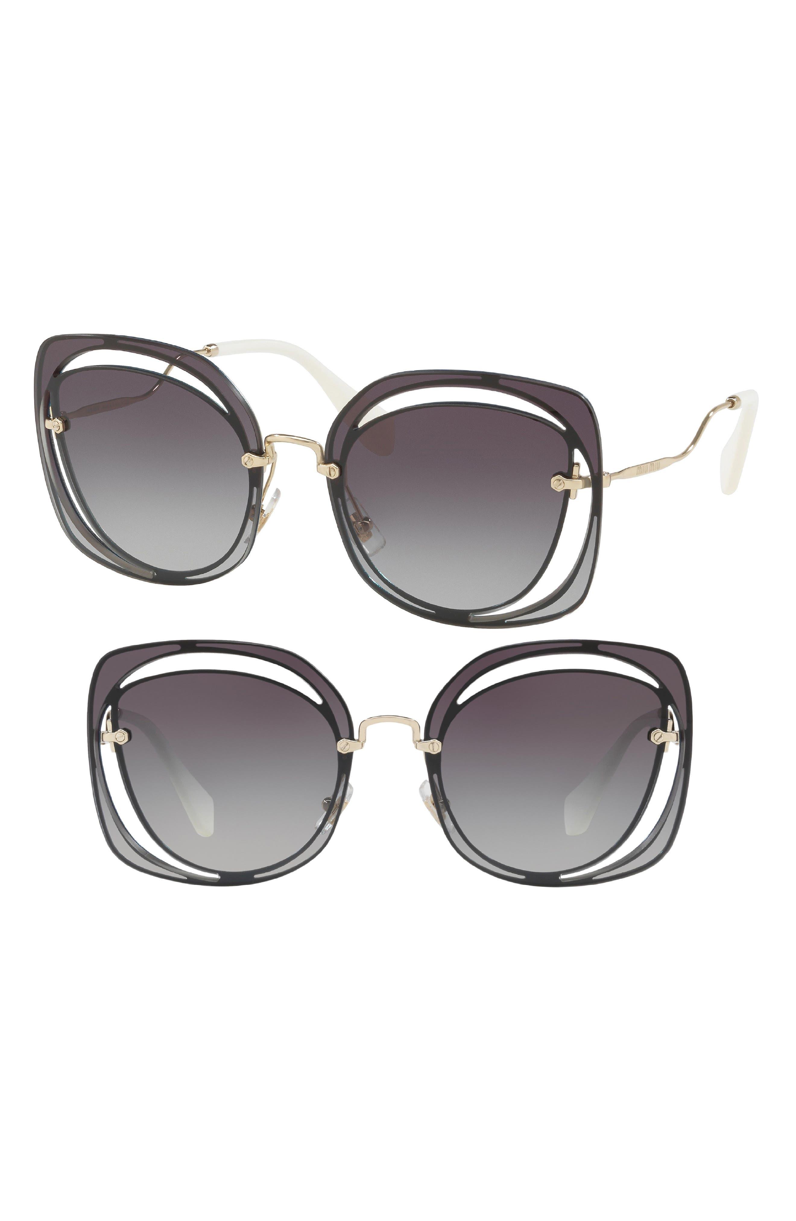 64mm Oversize Sunglasses,                             Main thumbnail 1, color,                             Blue Gradient