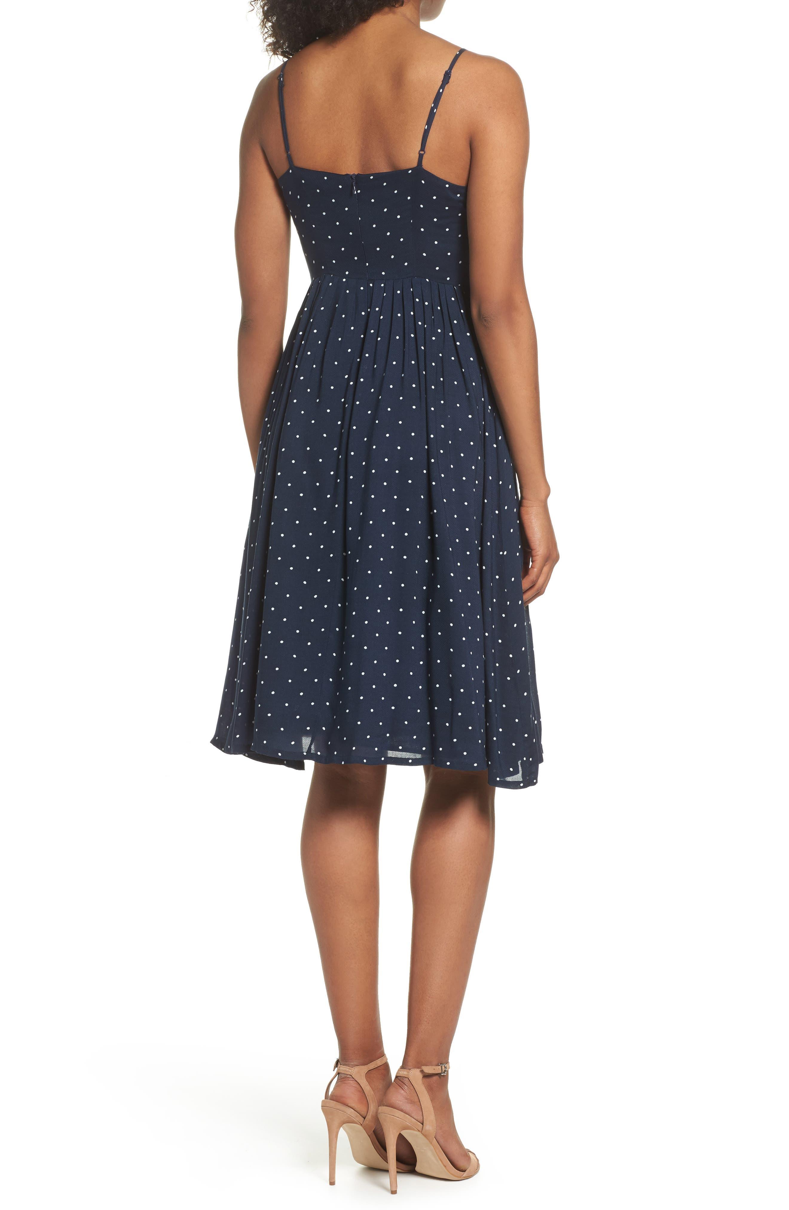 Sloane Polka Dot Dress,                             Alternate thumbnail 2, color,                             Navy