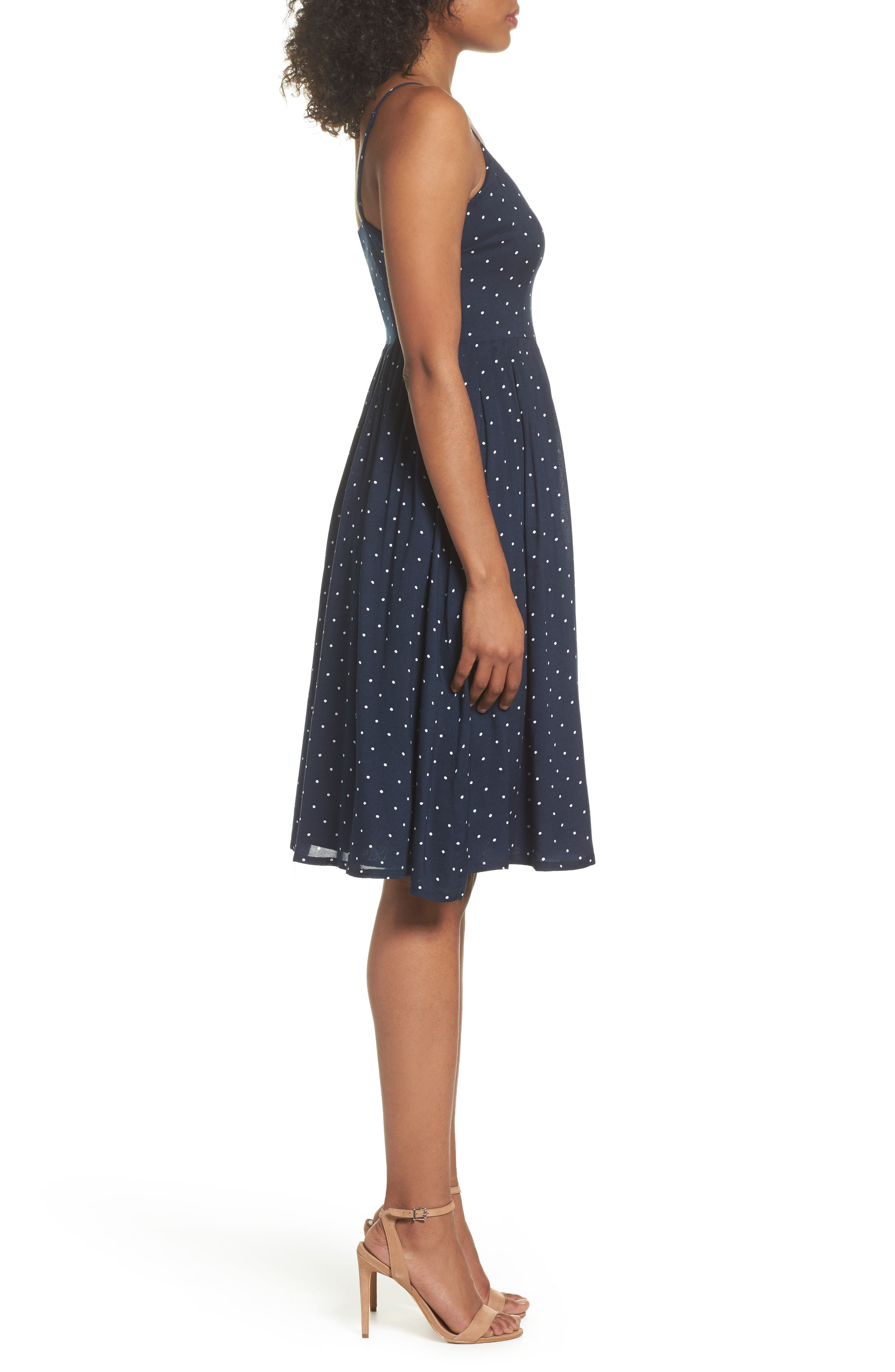 Sloane Polka Dot Dress,                             Alternate thumbnail 3, color,                             Navy