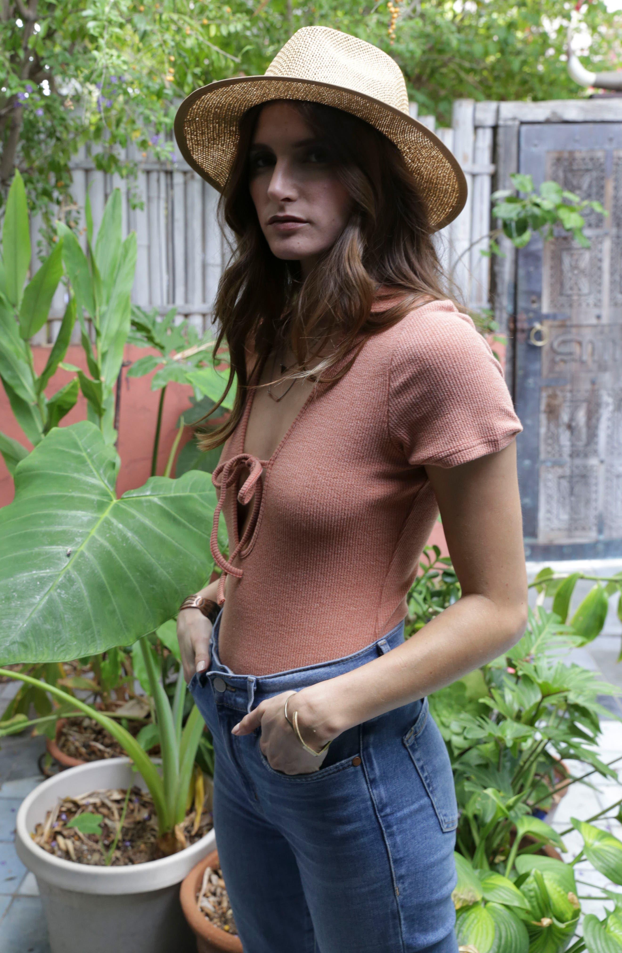 Liselle Keyhole Bodysuit,                             Alternate thumbnail 3, color,                             Clay
