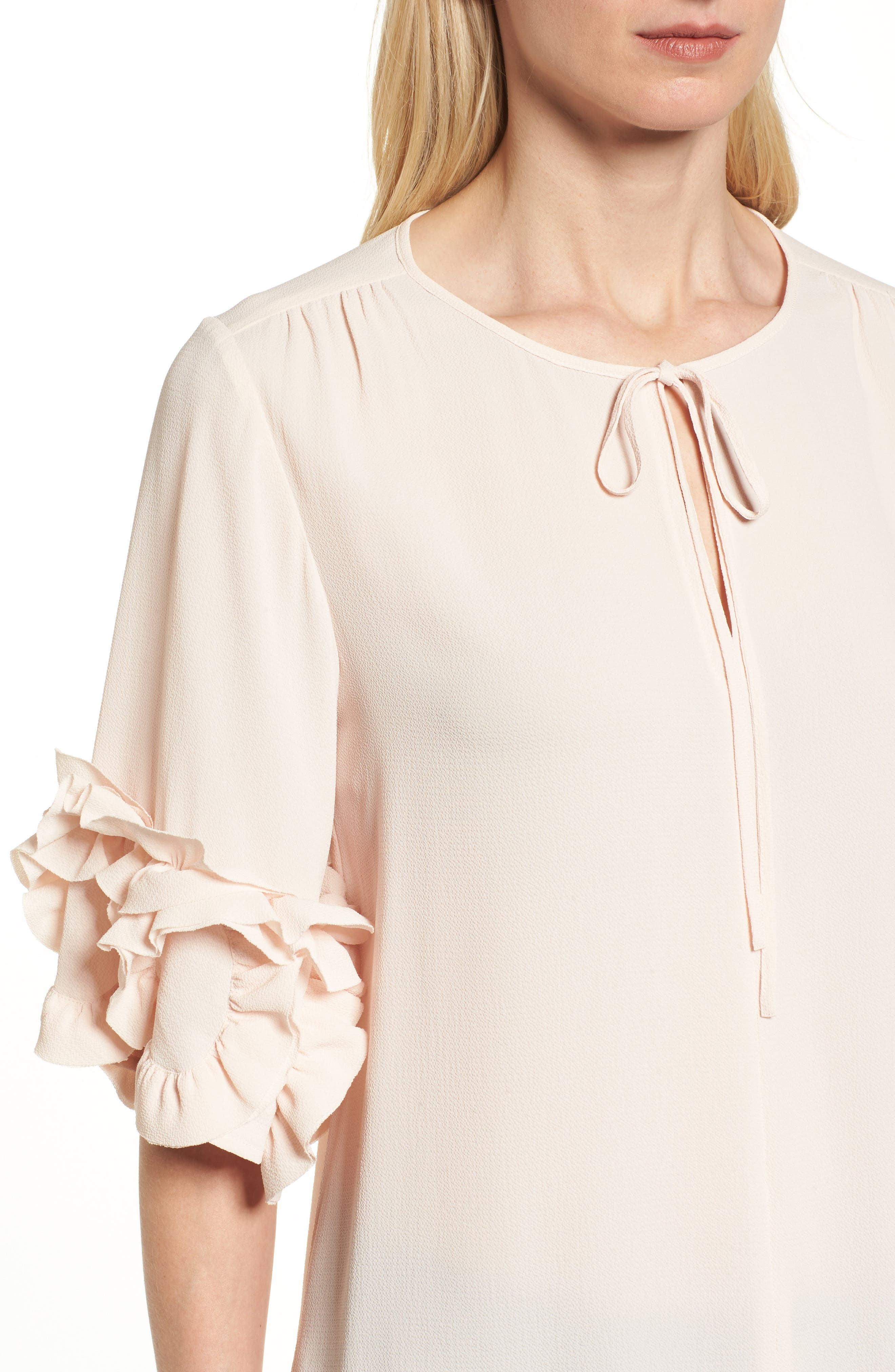 Ruffle Sleeve Tie Neck Blouse,                             Alternate thumbnail 4, color,                             Pink Mist