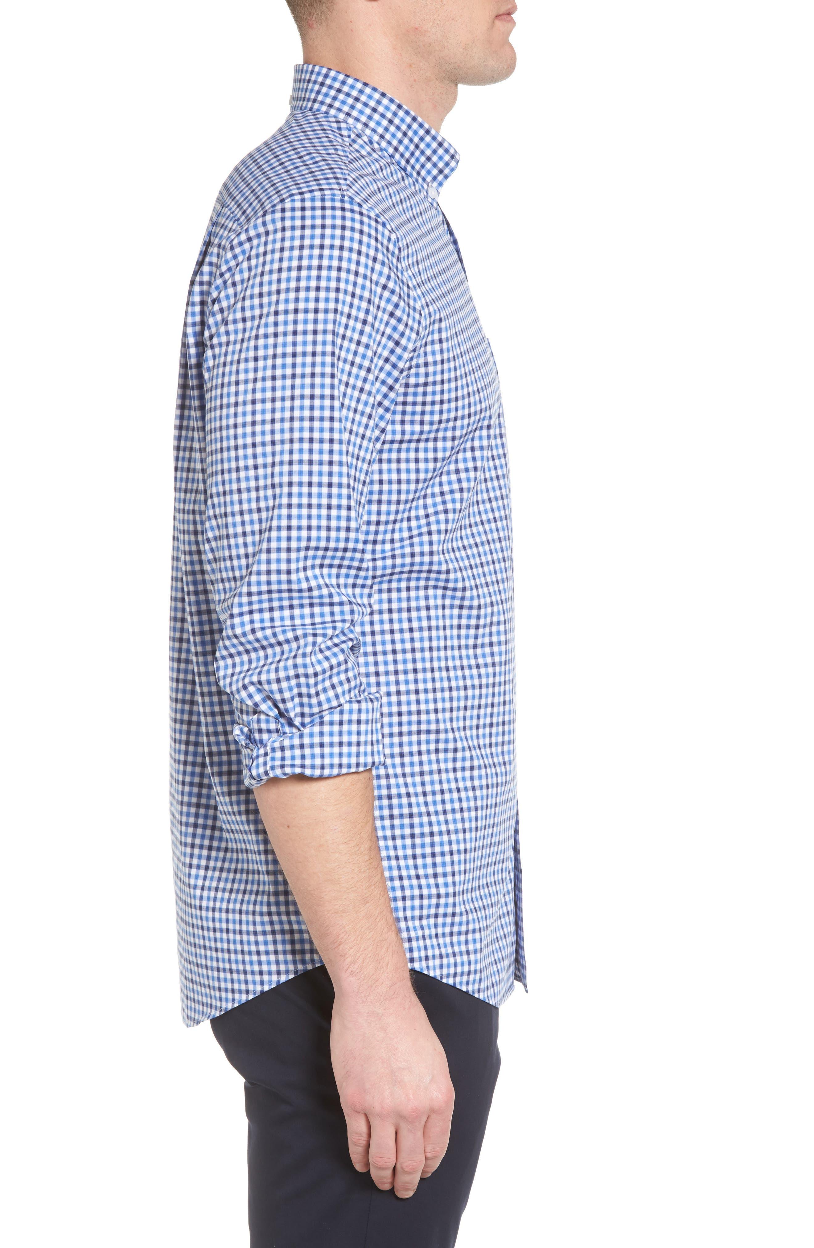 Tech-Smart Regular Fit Check Sport Shirt,                             Alternate thumbnail 4, color,                             Blue Camp Navy Check