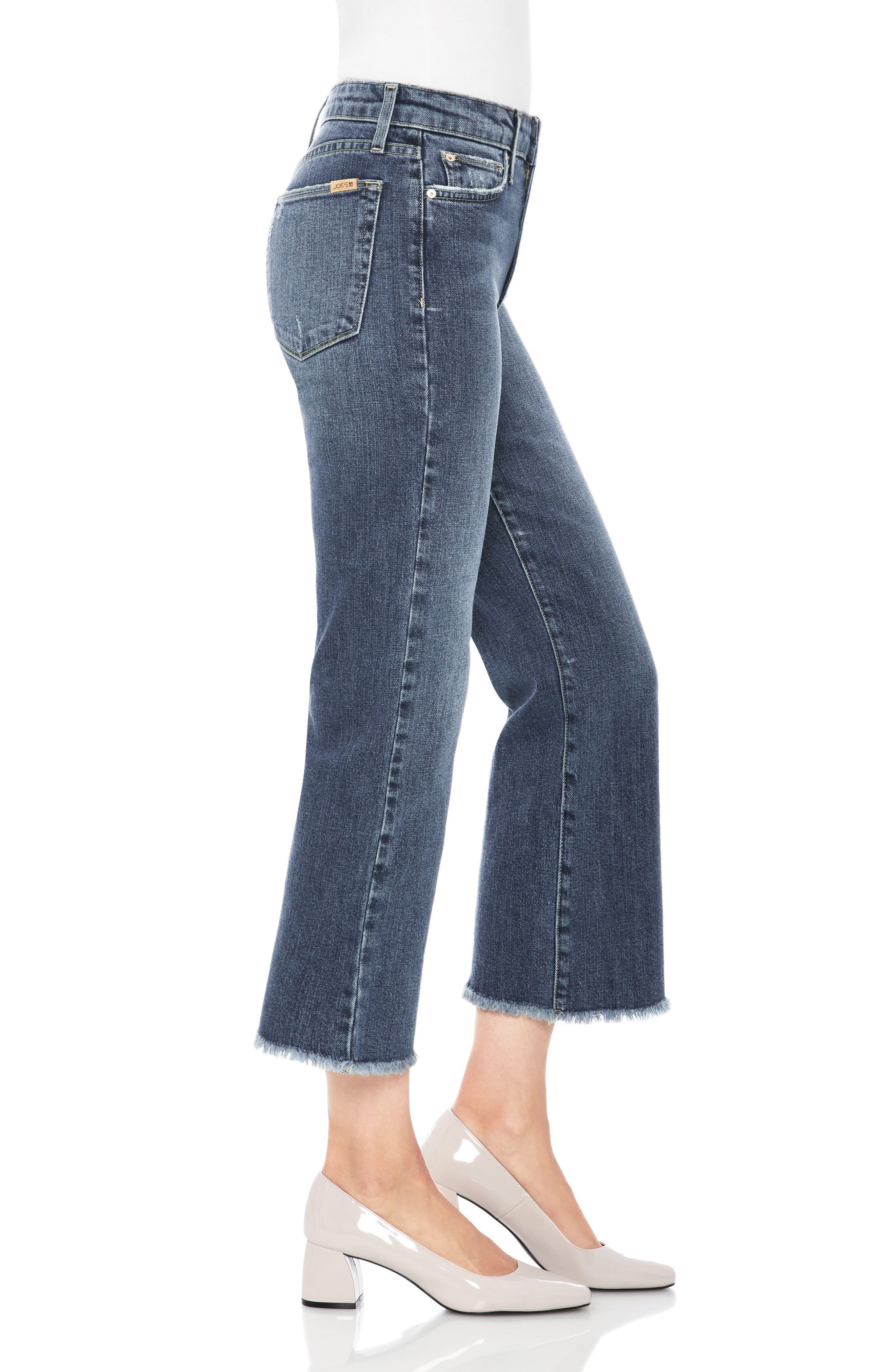 Wyatt Crop Wide Leg Jeans,                             Alternate thumbnail 3, color,                             Saxon