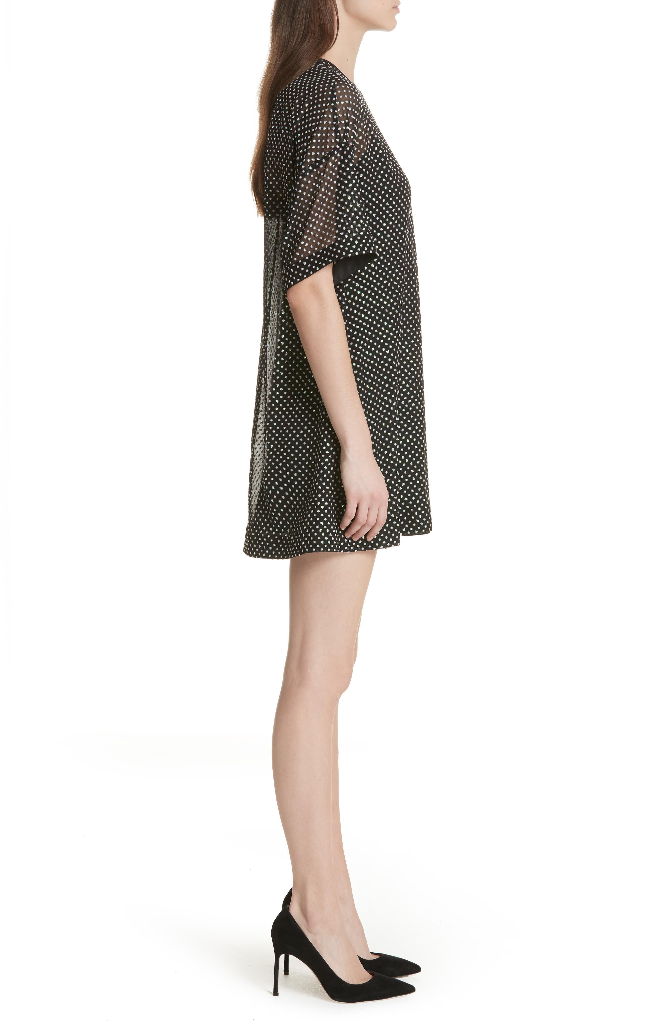 Creponne T-Shirt Dress,                             Alternate thumbnail 3, color,                             Black