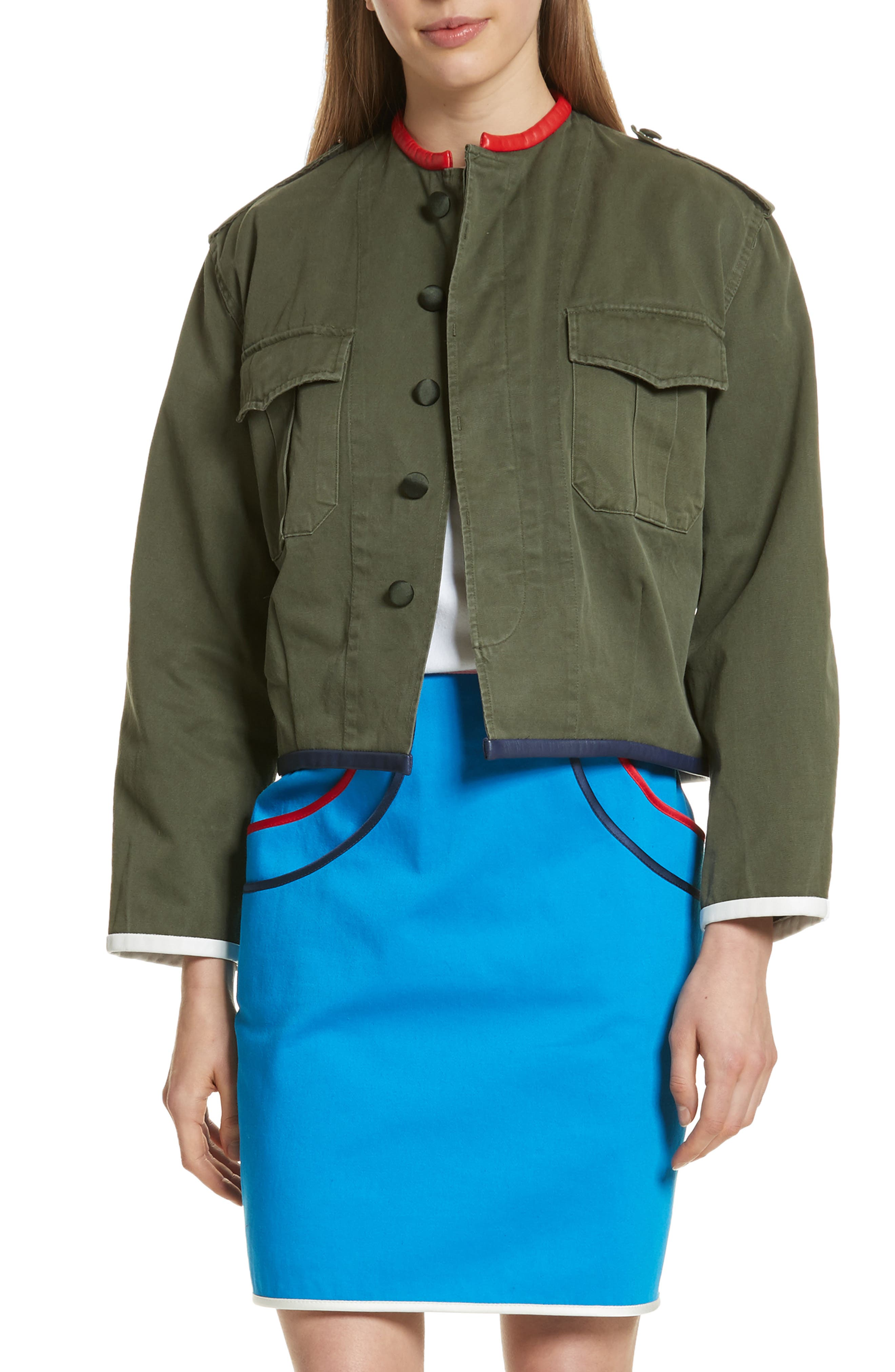 Leather Trim Crop Army Jacket,                             Main thumbnail 1, color,                             Olive