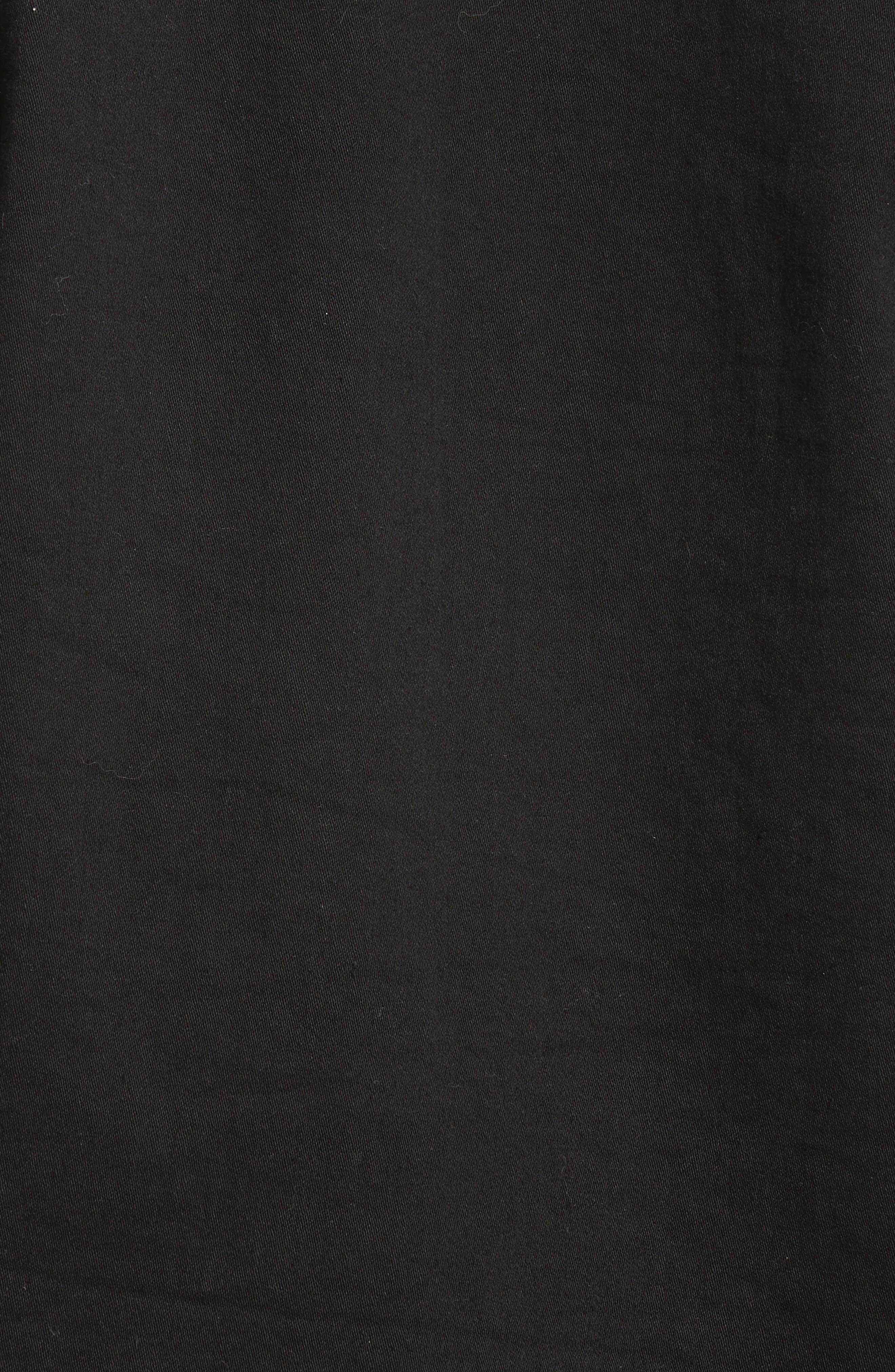 Ruffle Collar Crop Denim Jacket,                             Alternate thumbnail 5, color,                             Black