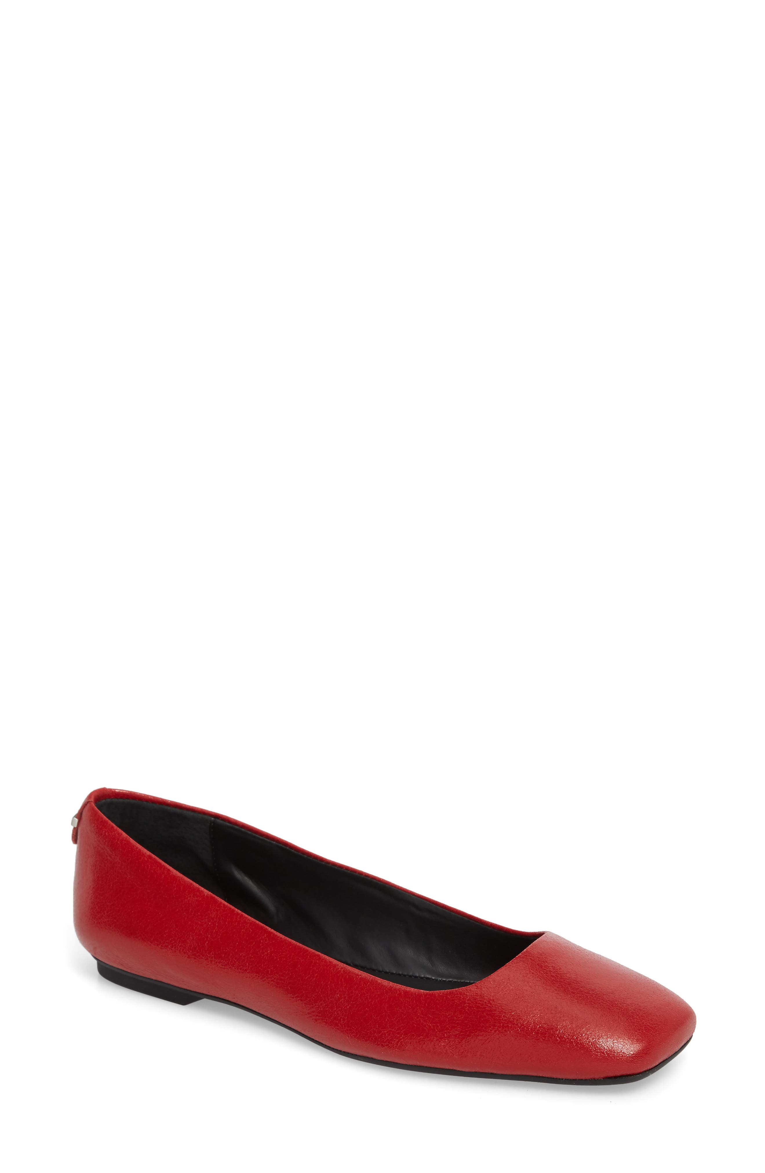 Enith Flat,                             Main thumbnail 1, color,                             Crimson Red Leather
