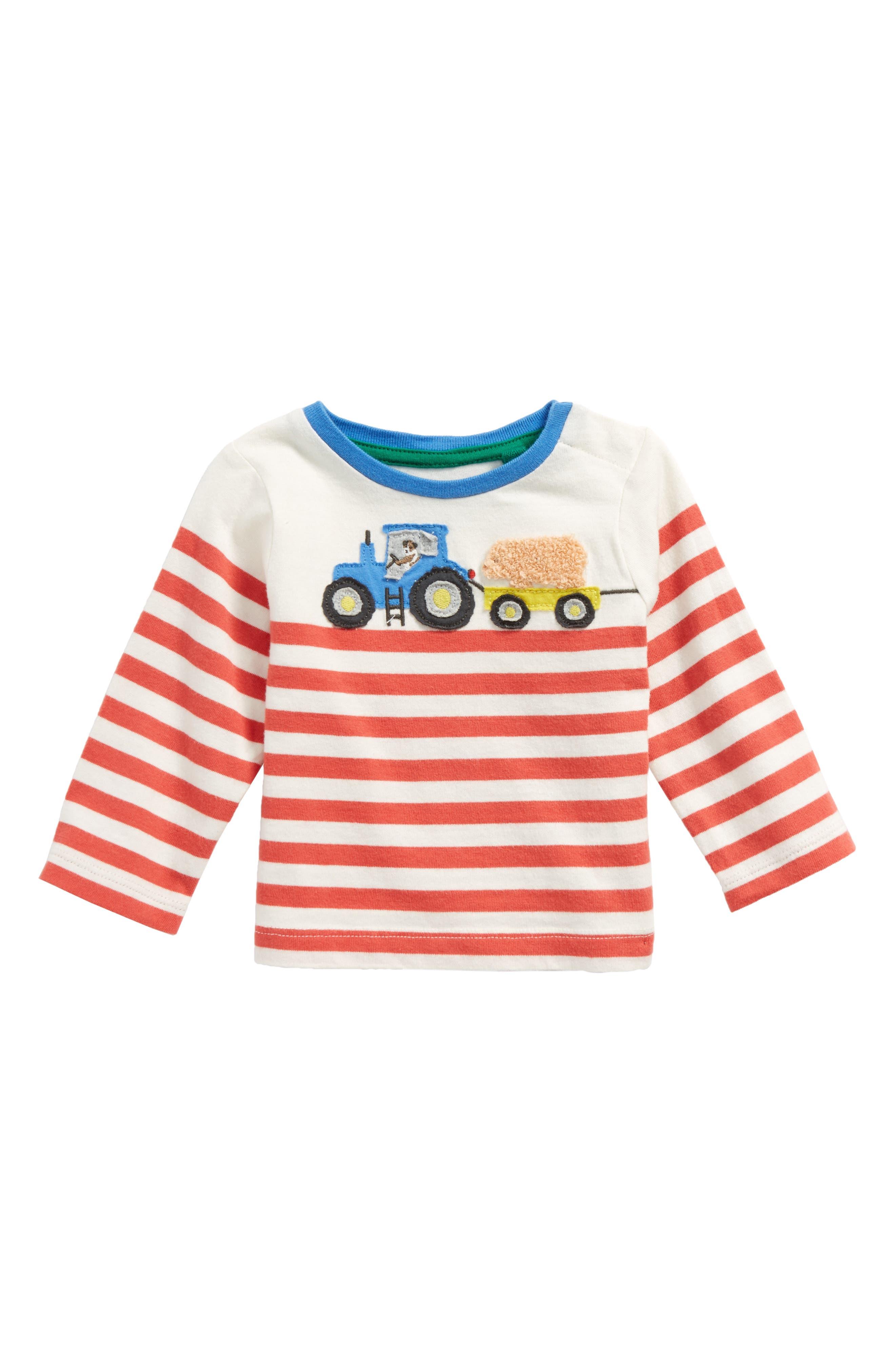 Farm Appliqué T-Shirt,                         Main,                         color, Ecru/ Crayon Red