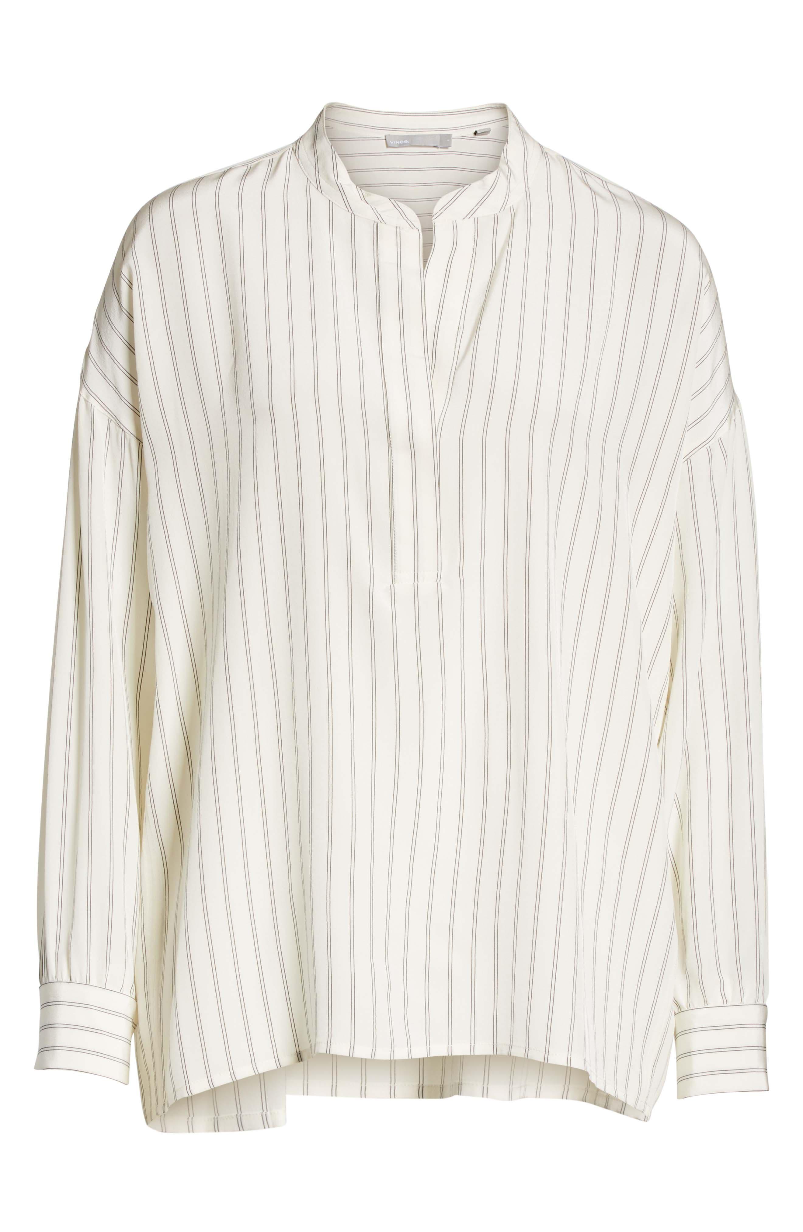 Double Stripe Silk Pullover,                             Alternate thumbnail 6, color,                             Cream