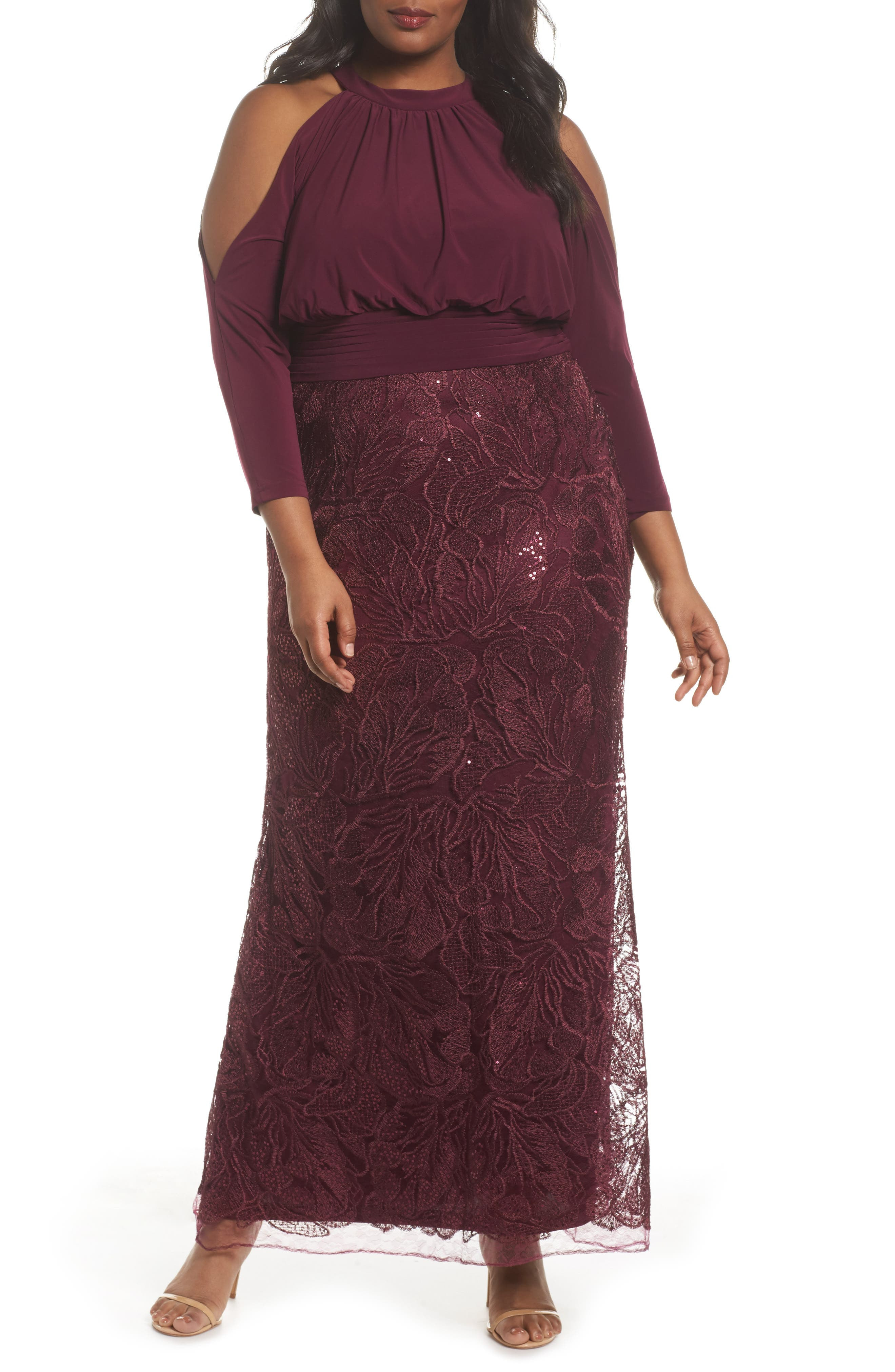 Stretch Jersey & Sequin Lace Gown,                         Main,                         color, Cabernet