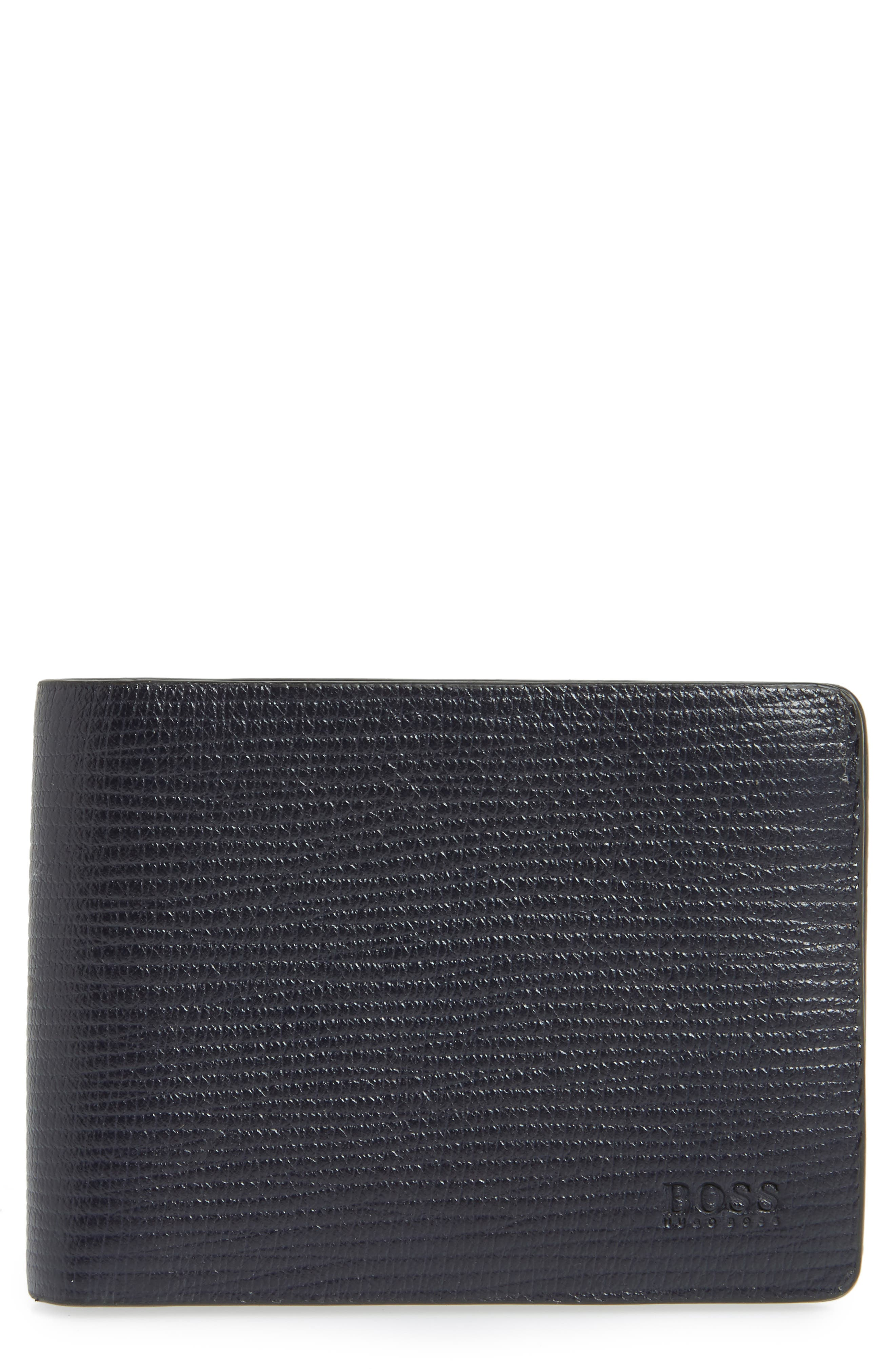 Timeless Leather Wallet,                         Main,                         color, Navy