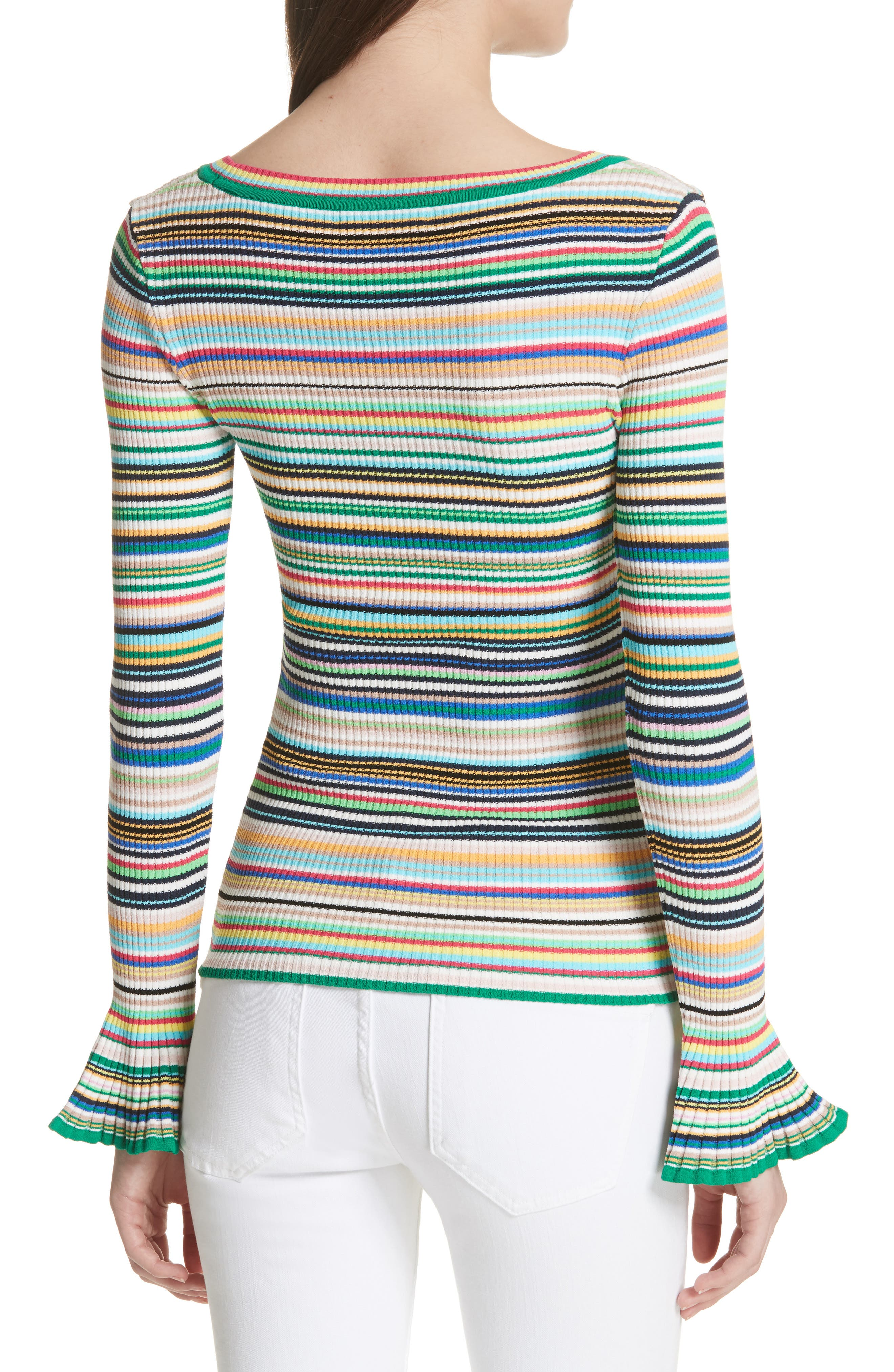 Microstripe Flare Sleeve Pullover,                             Alternate thumbnail 2, color,                             Rainbow Multi