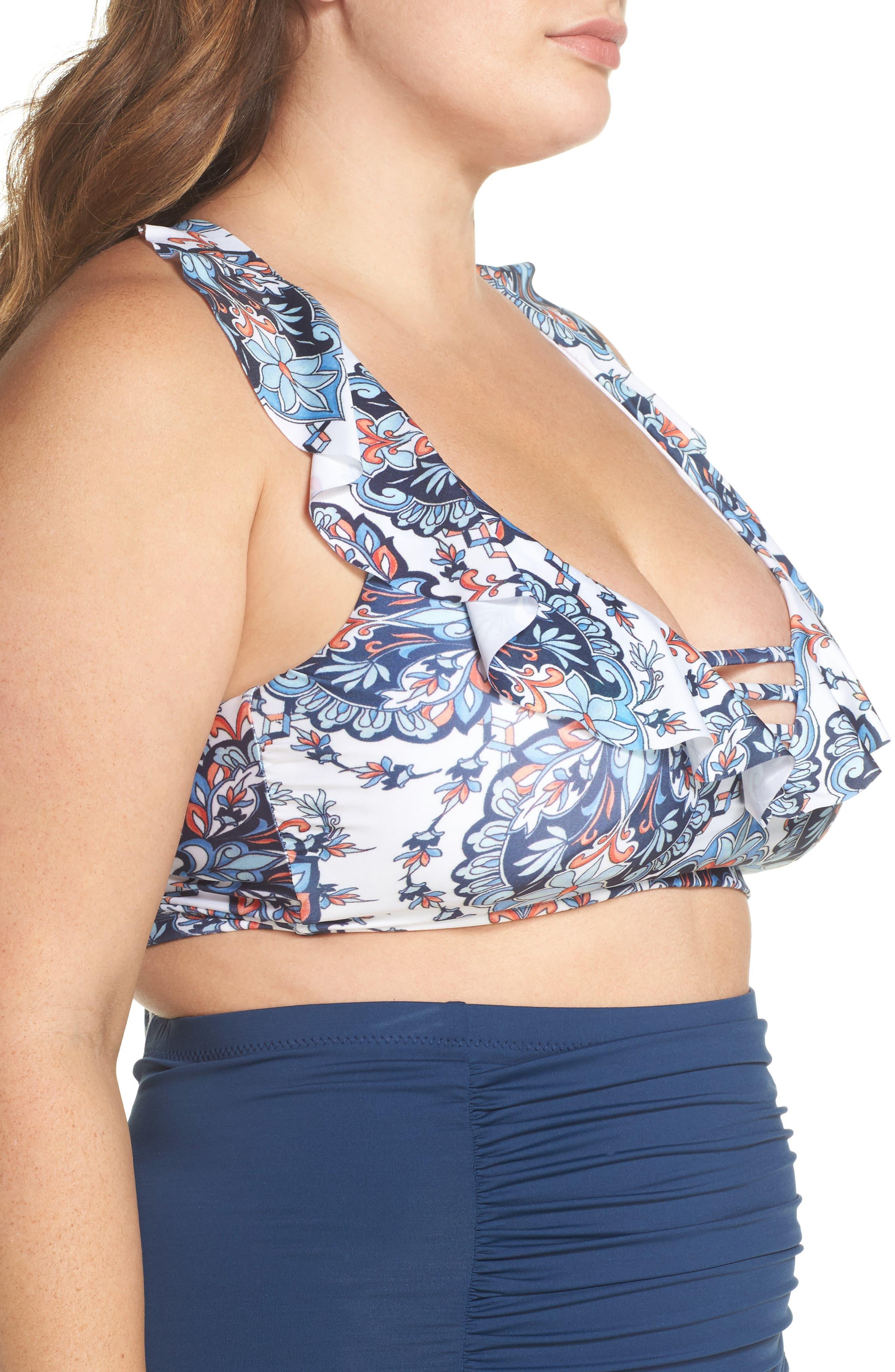 Naples Ruffle Bikini Top,                             Alternate thumbnail 3, color,                             Navy Multi