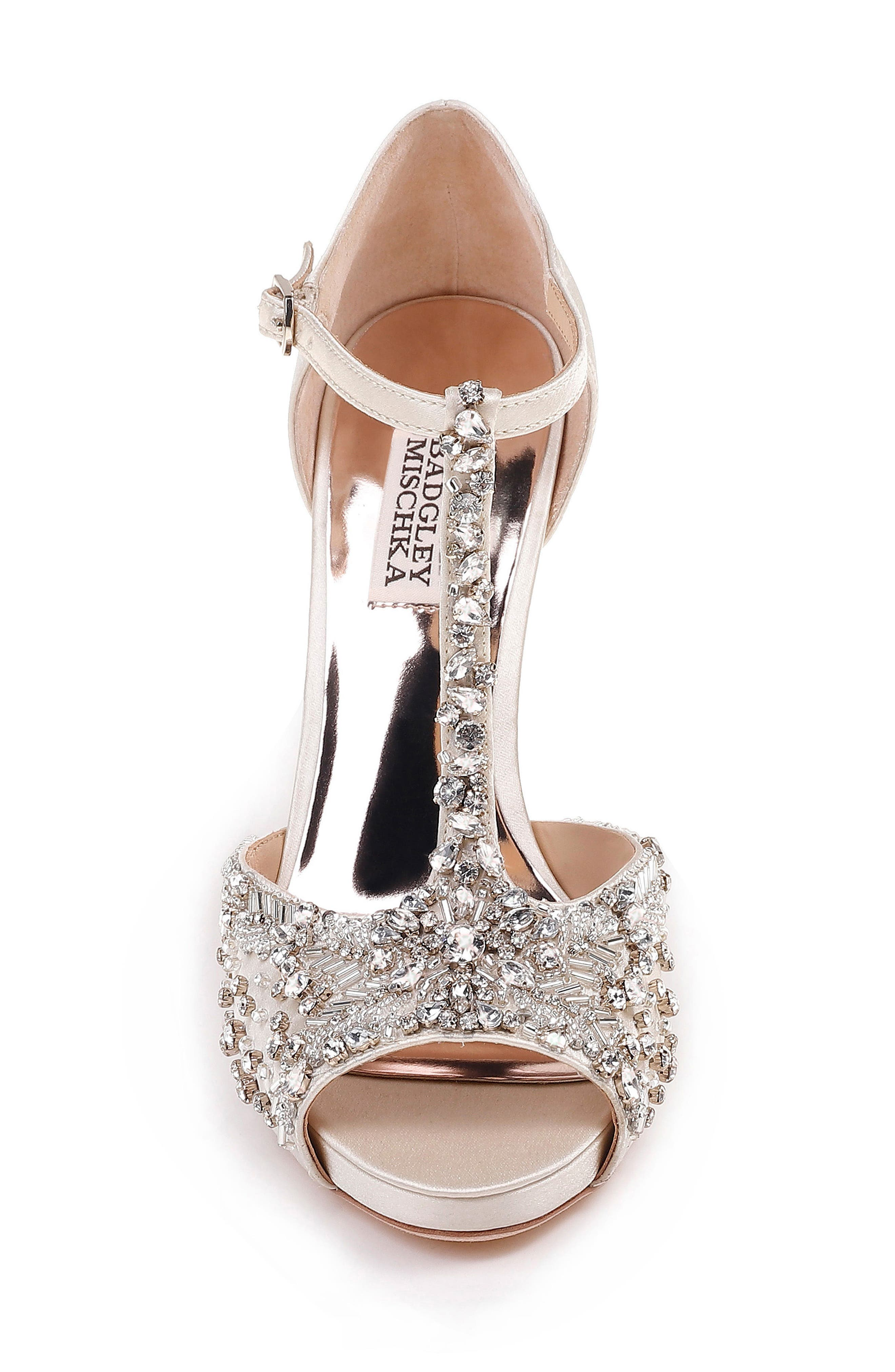 Stacey Crystal Embellished T-Strap Sandal,                             Alternate thumbnail 4, color,                             Ivory Satin