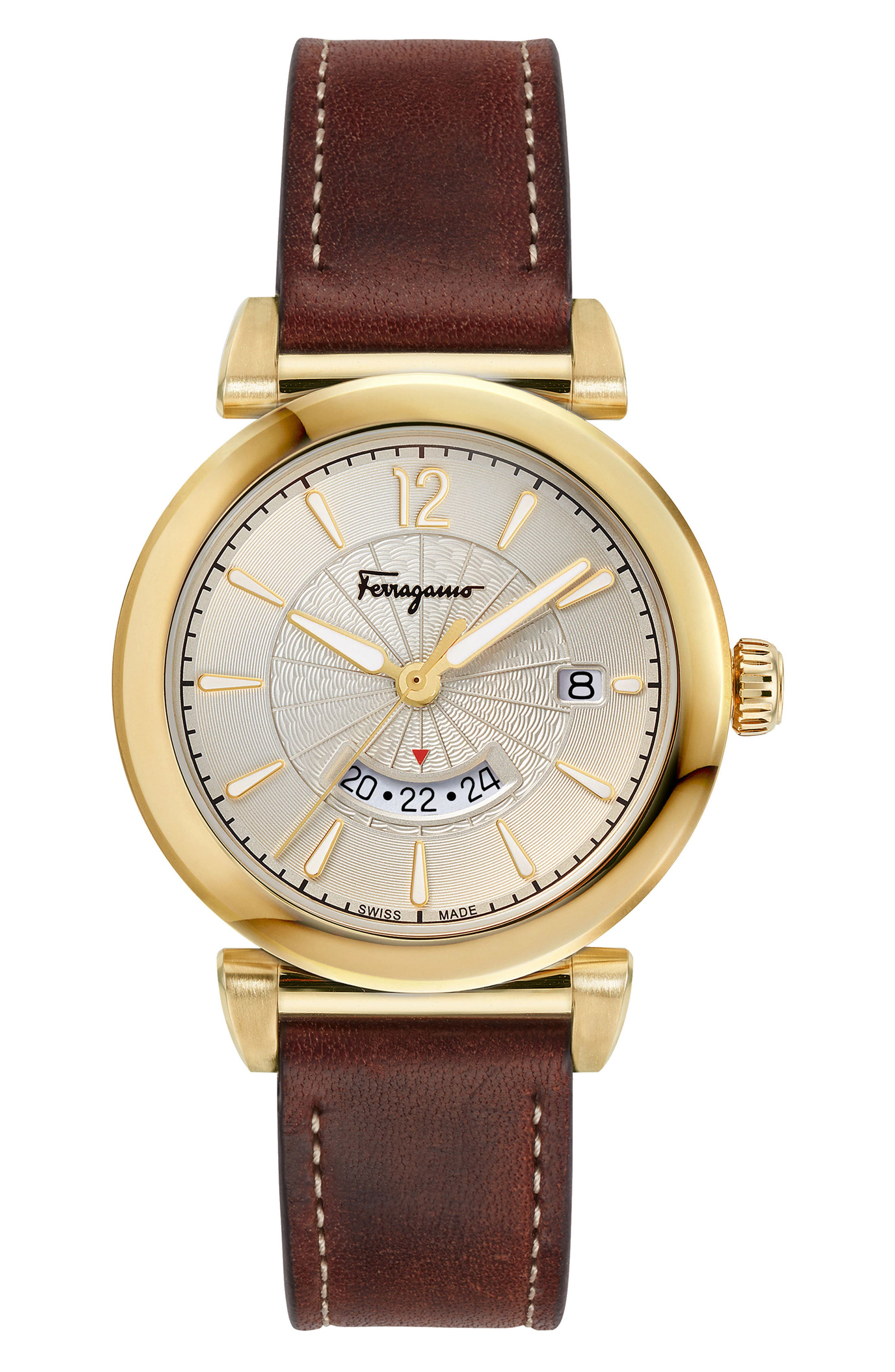 Feroni Leather Strap Watch, 40mm,                         Main,                         color, Brown/ Silver/ Gold