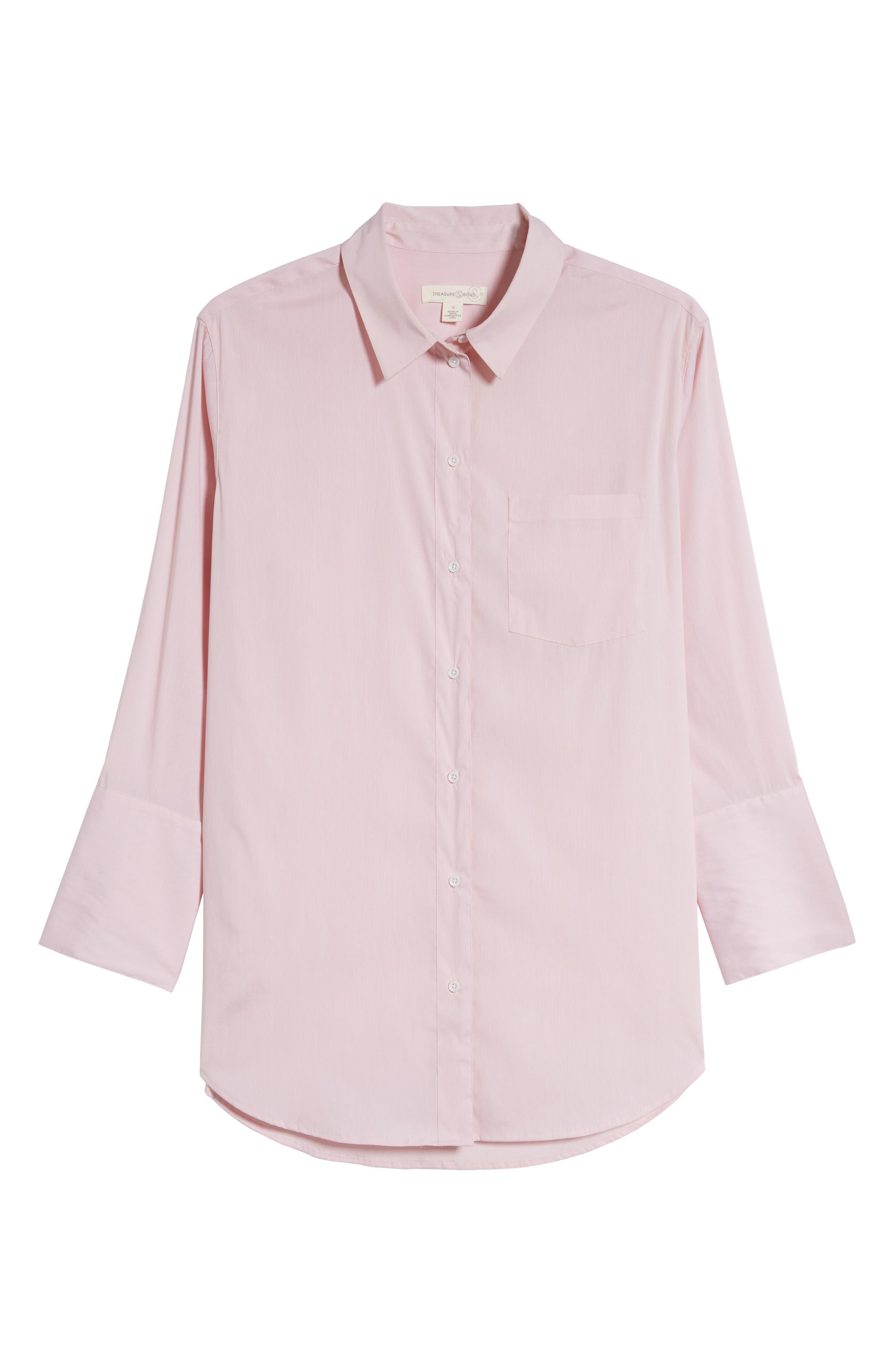Loose Sleeve Poplin Tunic Shirt,                             Alternate thumbnail 7, color,                             Pink Silver Micro Stripe