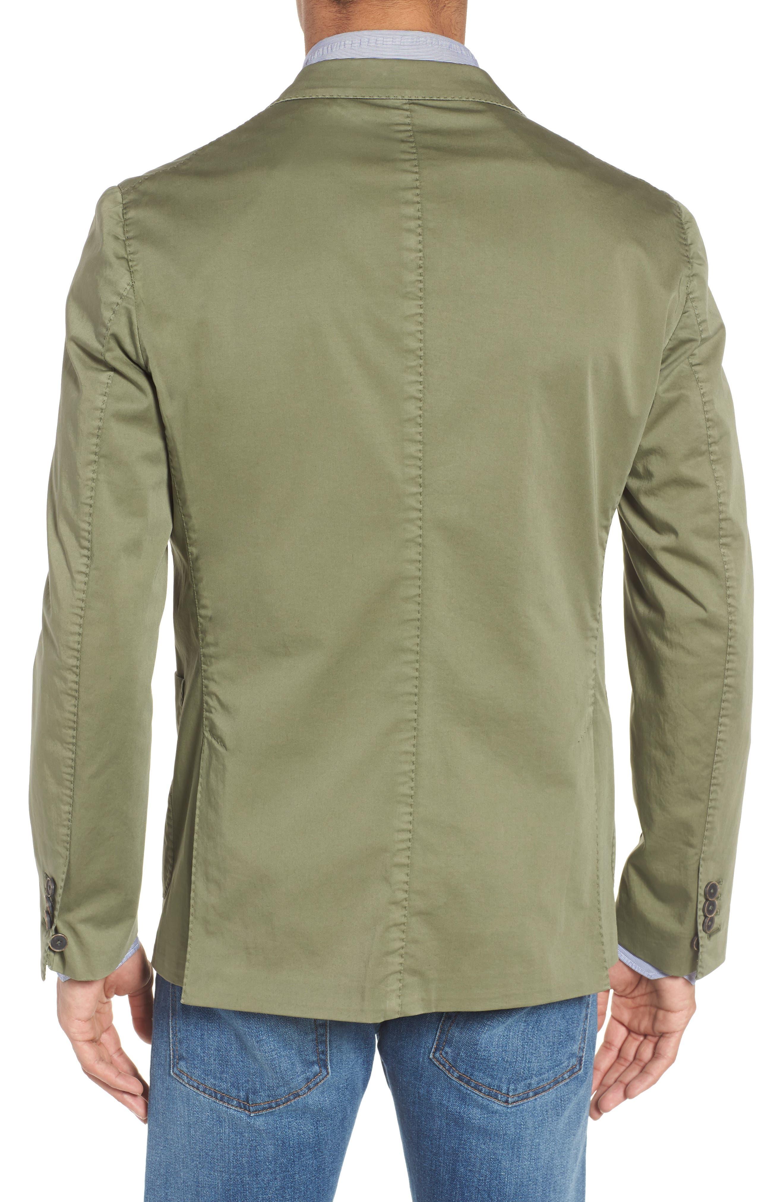 Trim Fit Stretch Cotton Blazer,                             Alternate thumbnail 2, color,                             Medium Green