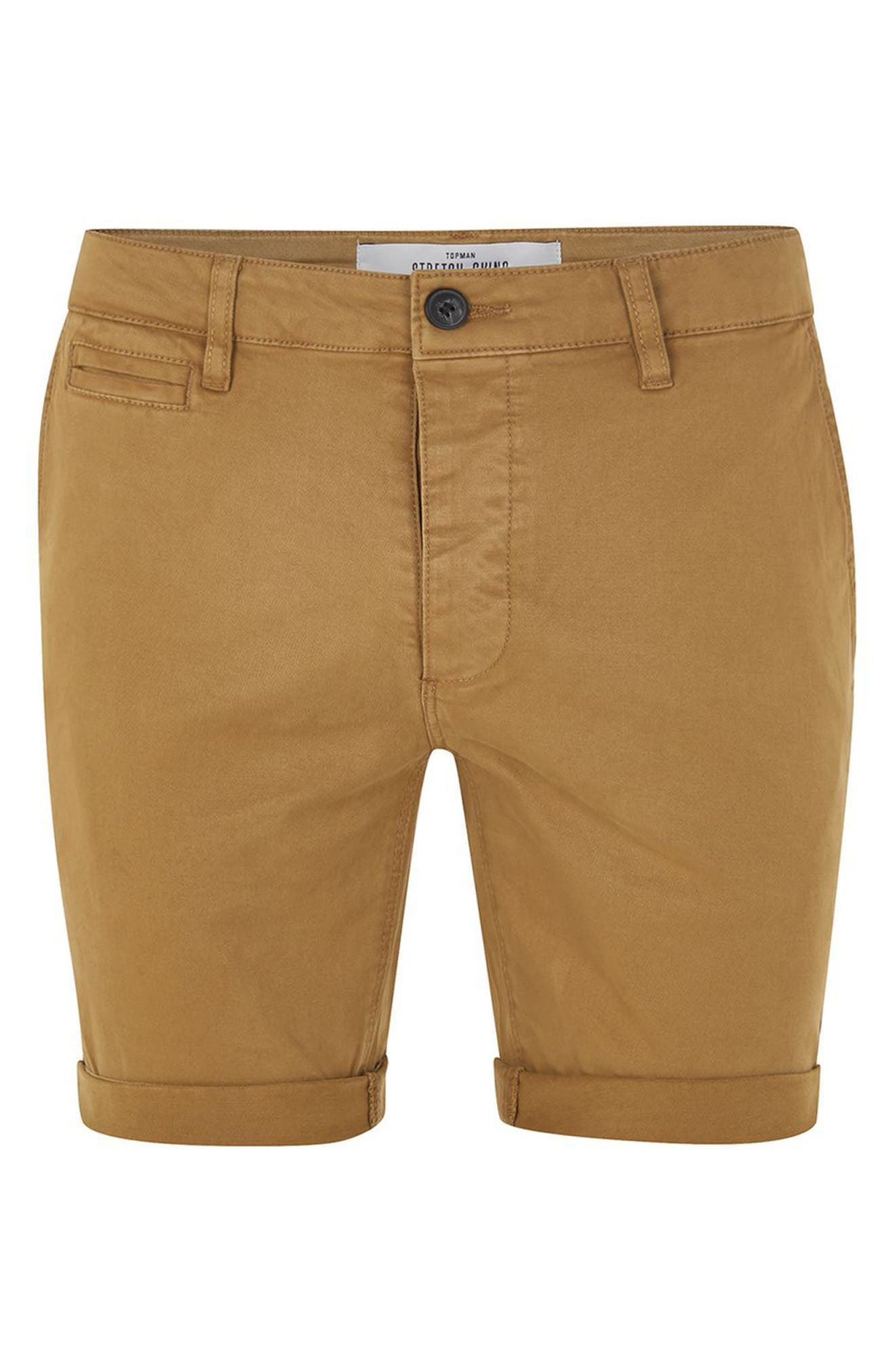 Stretch Skinny Chino Shorts,                             Alternate thumbnail 4, color,                             Yellow