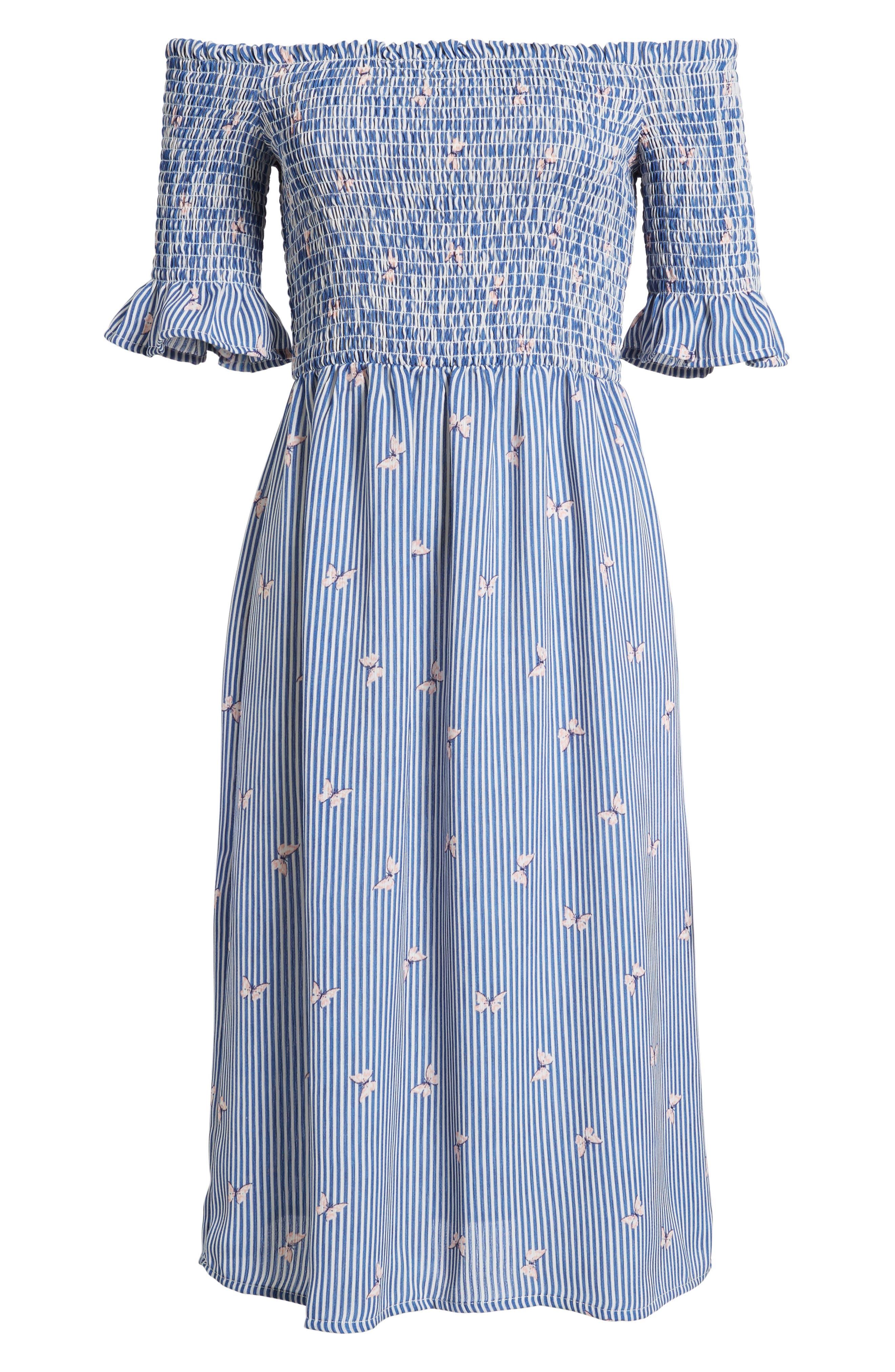 Smocked Midi Dress,                             Alternate thumbnail 6, color,                             Off White/ Blue