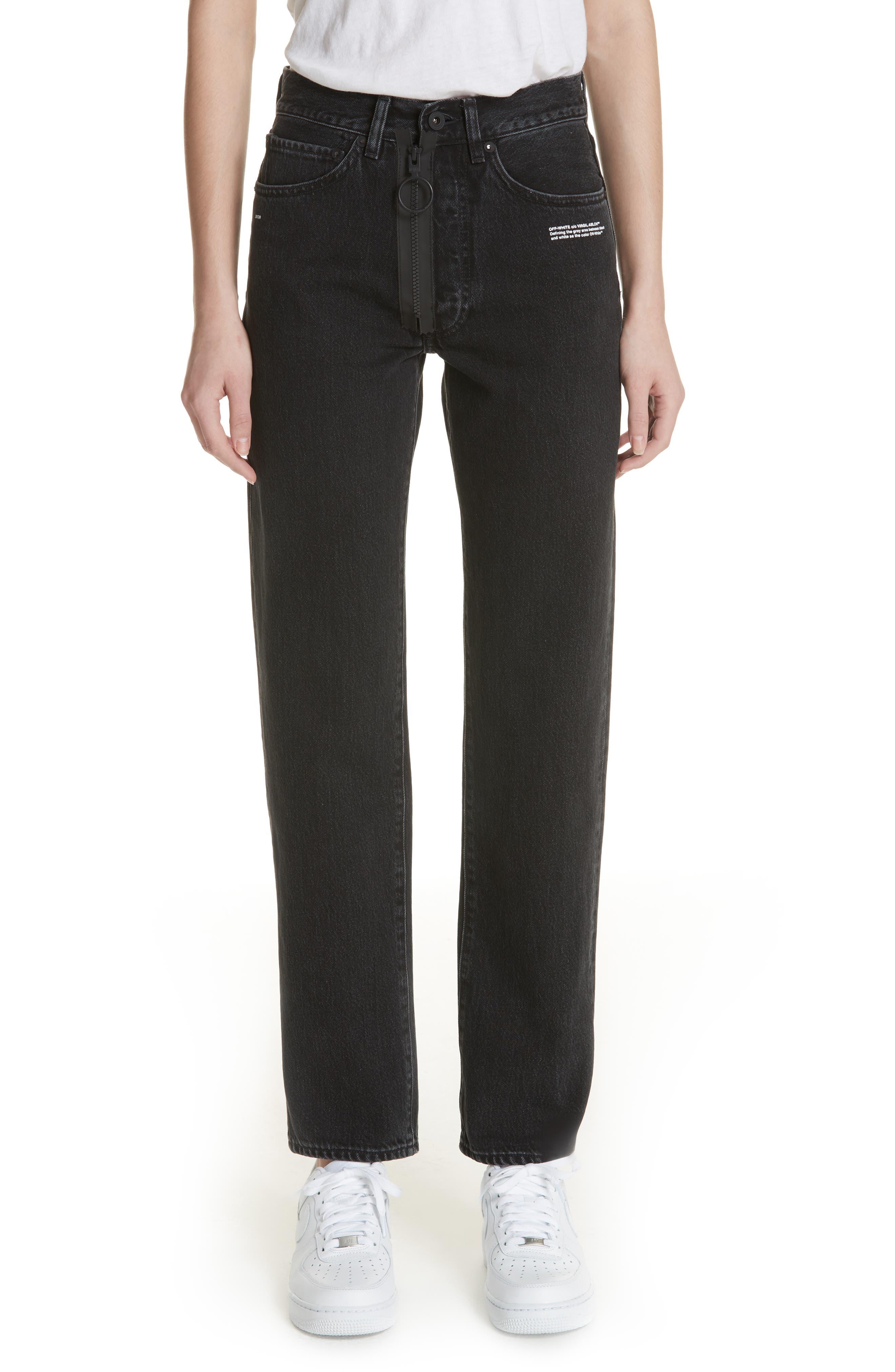 Off-White Classic Straight Leg Jeans (Vintage Black/White)