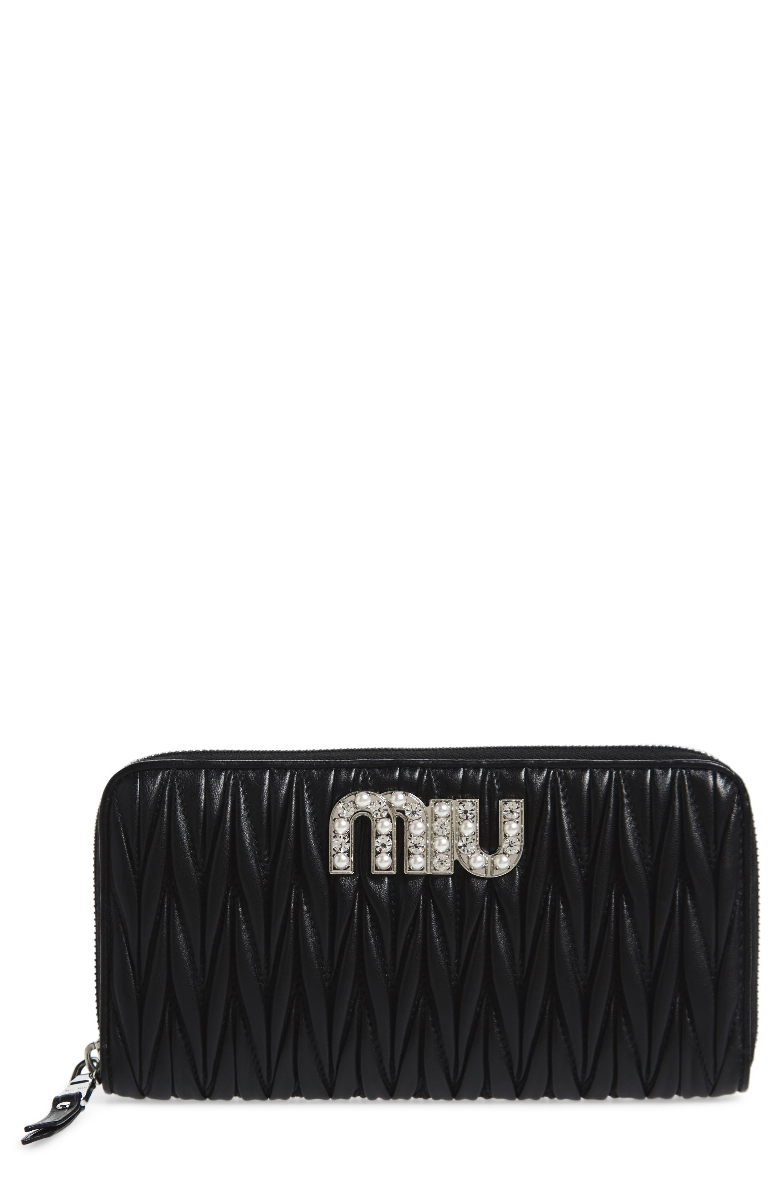 Embellished Logo Matelassé Leather Zip Around Wallet,                             Main thumbnail 1, color,                             Nero