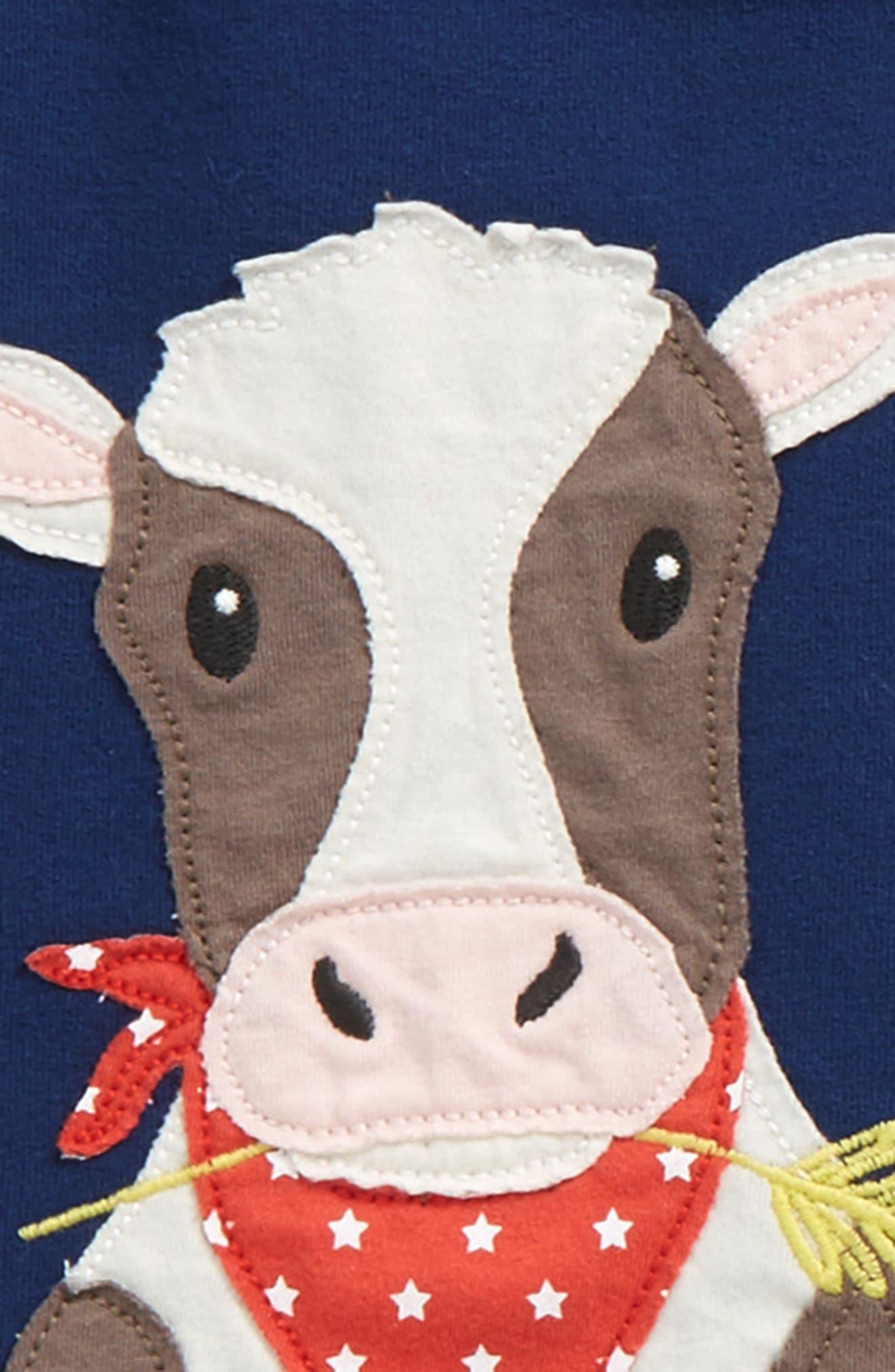 Appliqué T-Shirt & Pants Set,                             Alternate thumbnail 3, color,                             Beacon Blue Cow
