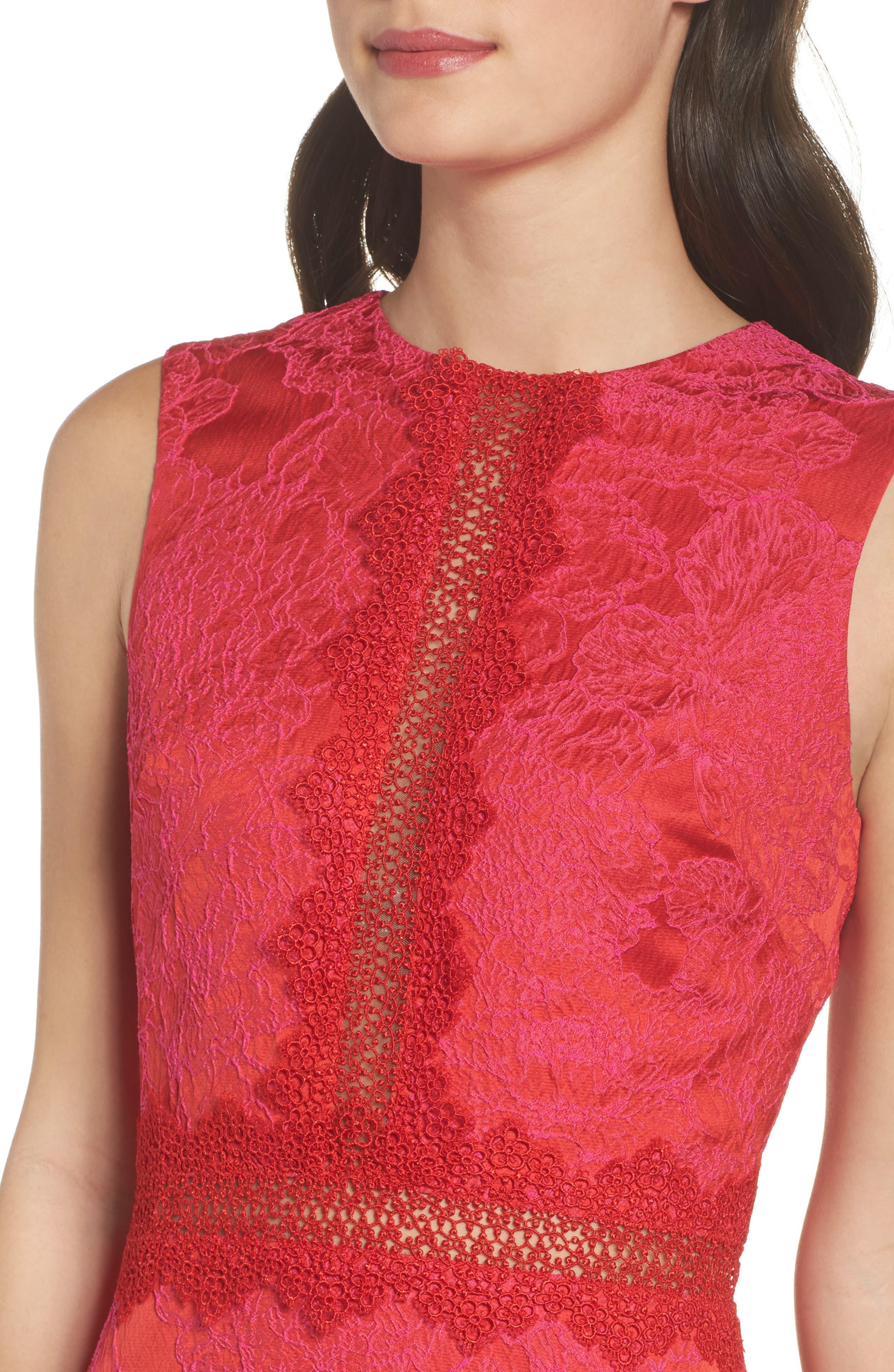 Lace Panel Sheath Dress,                             Alternate thumbnail 4, color,                             Red Multi