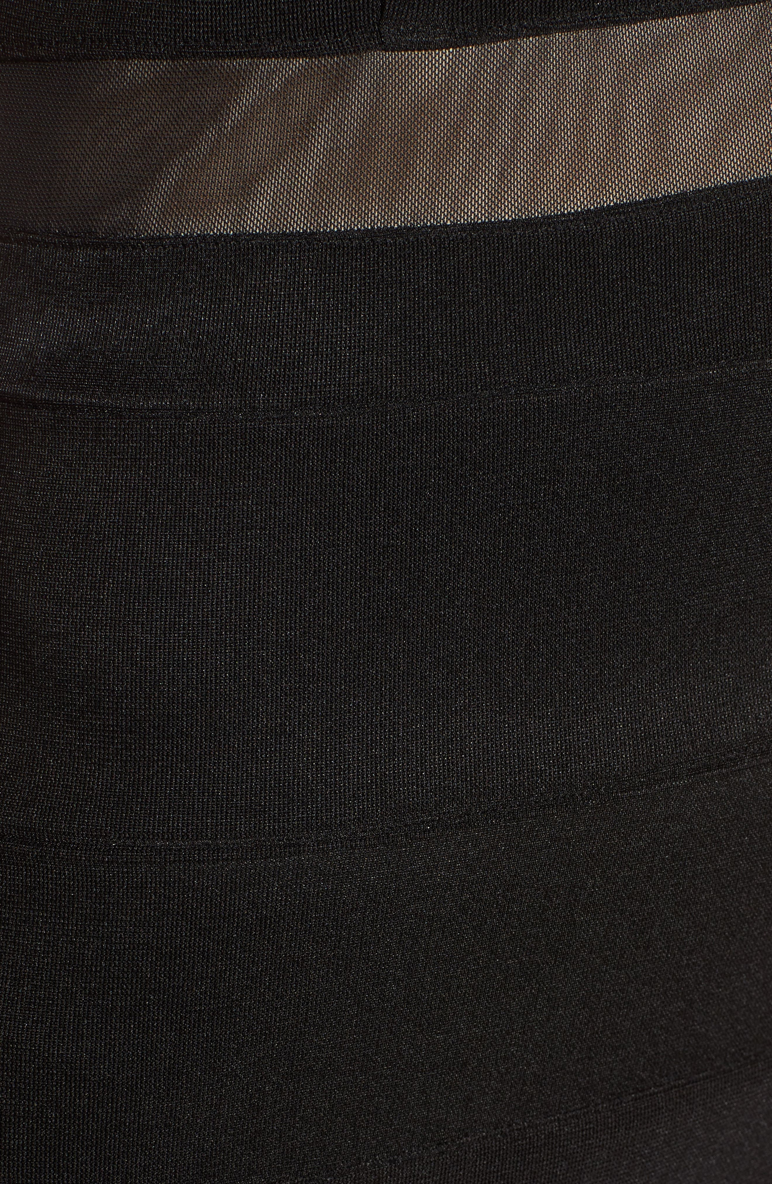 Illusion Body-Con Dress,                             Alternate thumbnail 6, color,                             Black
