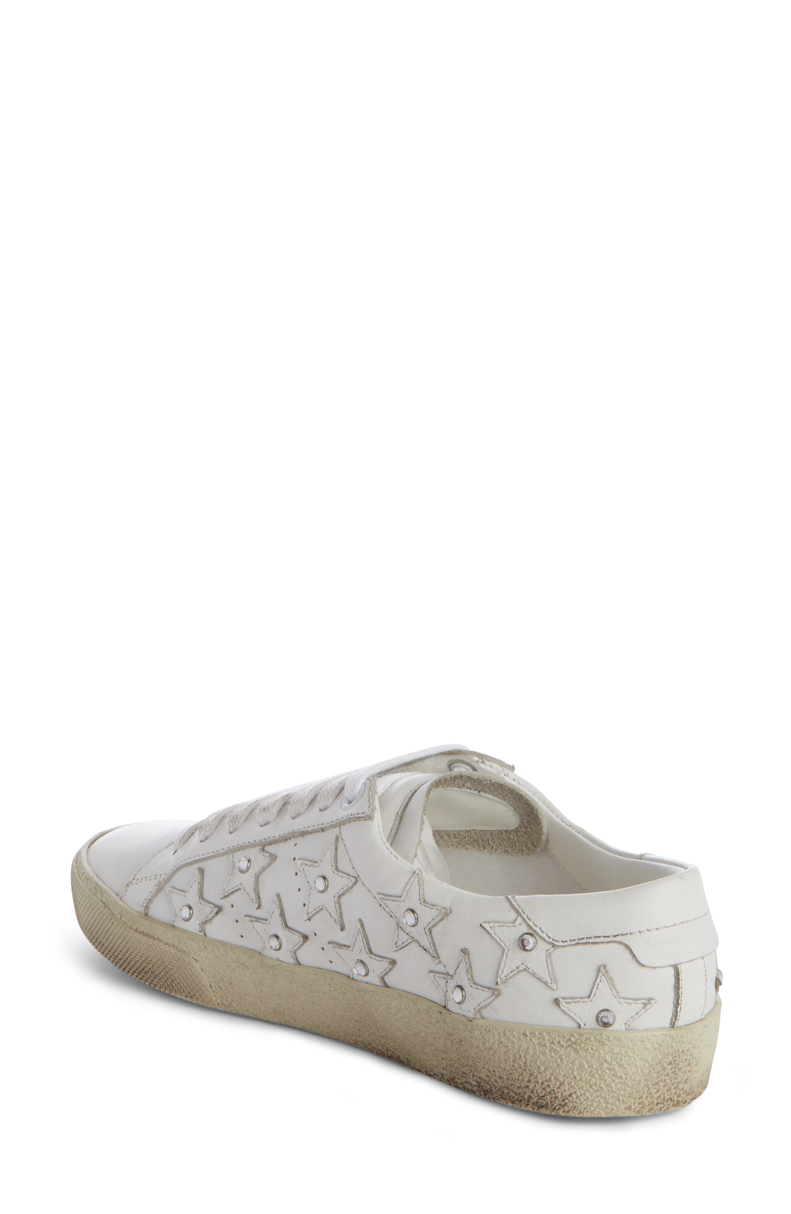 Court Classic Embellished Star Sneaker,                             Alternate thumbnail 2, color,                             White