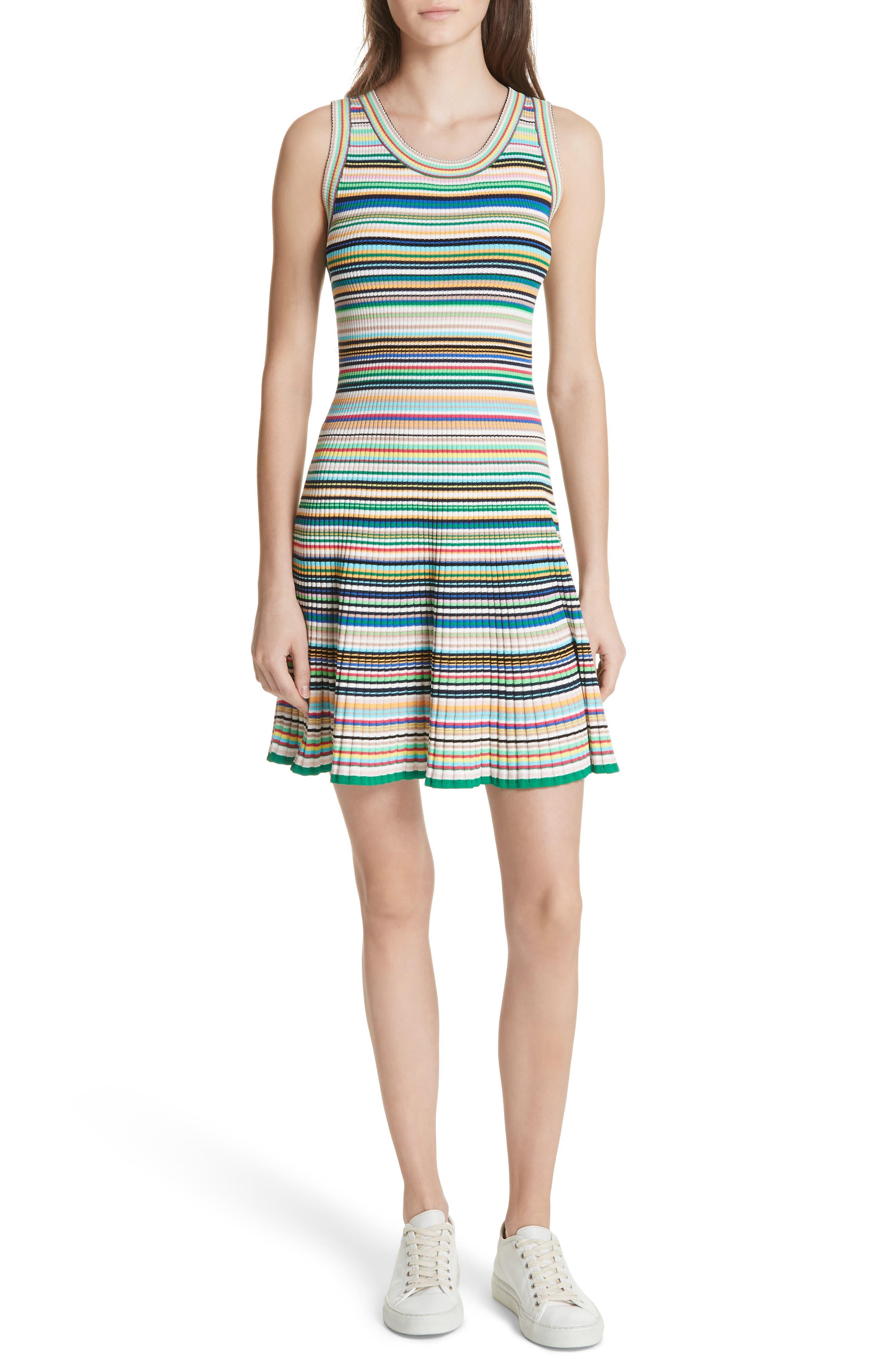 Microstripe Knit Fit & Flare Dress,                             Main thumbnail 1, color,                             Rainbow Multi