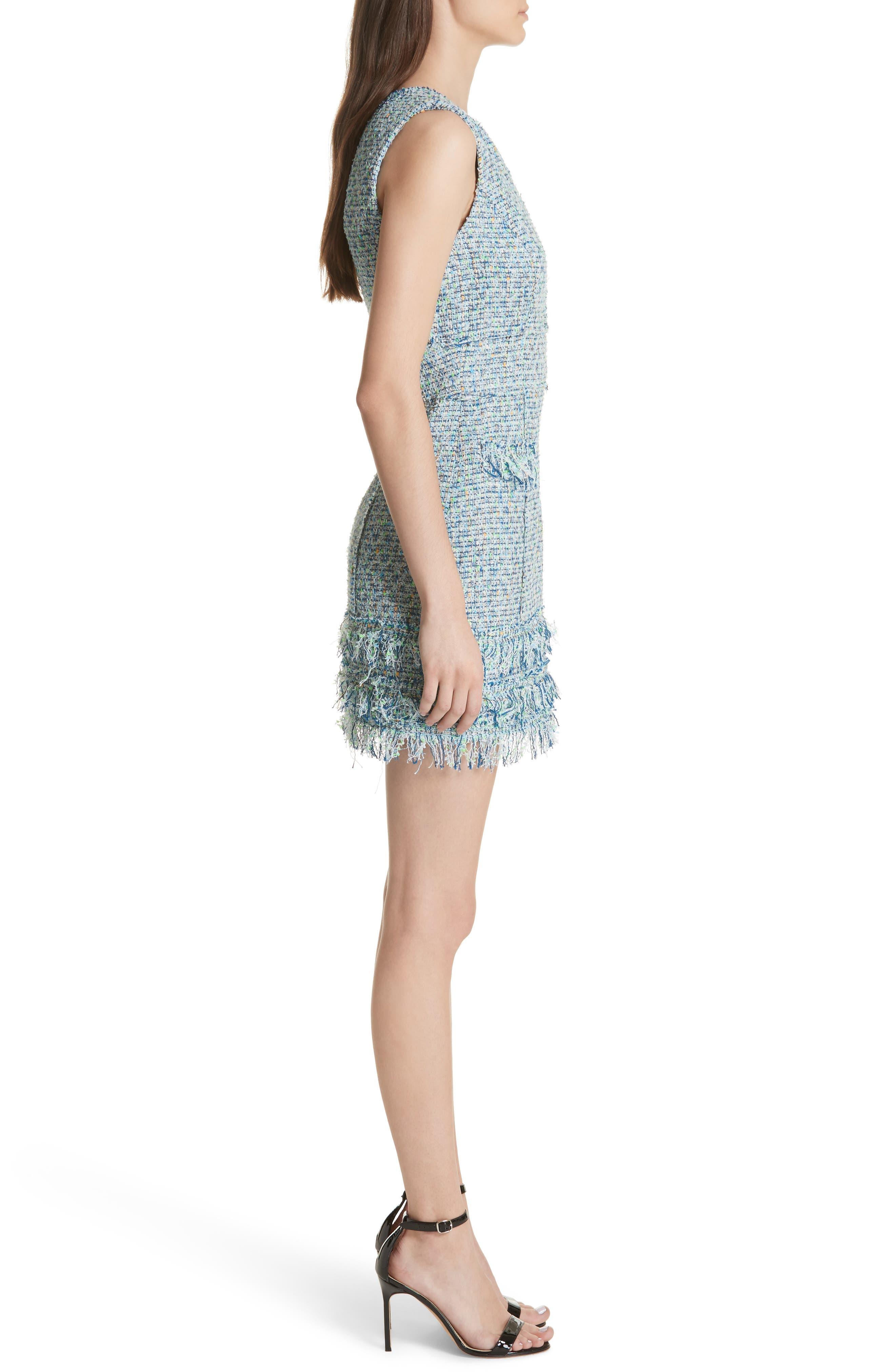 Tweed Sleeveless A-Line Dress,                             Alternate thumbnail 3, color,                             Blue