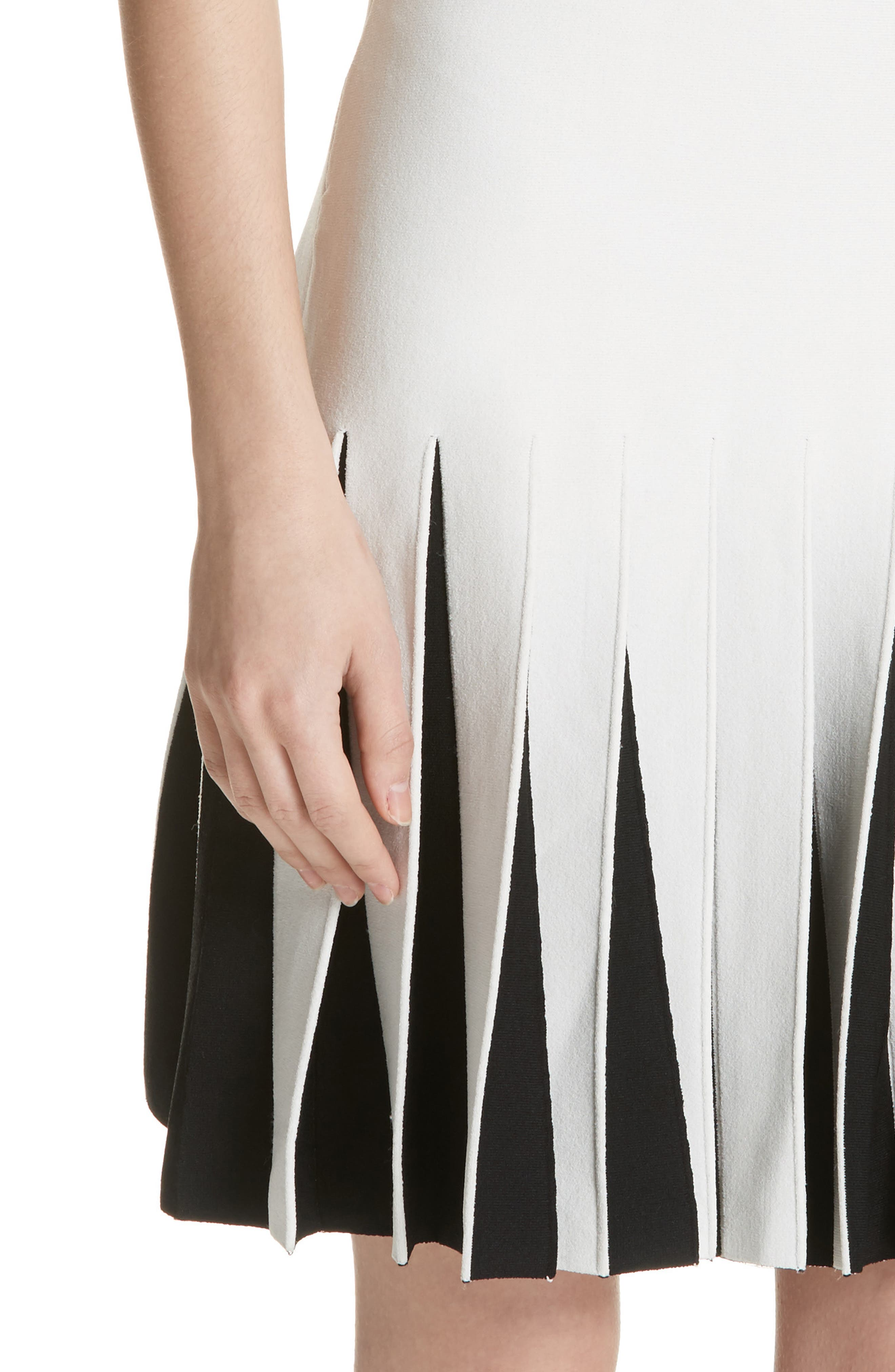 Pleated Contrast Drop Waist Dress,                             Alternate thumbnail 4, color,                             White/ Black