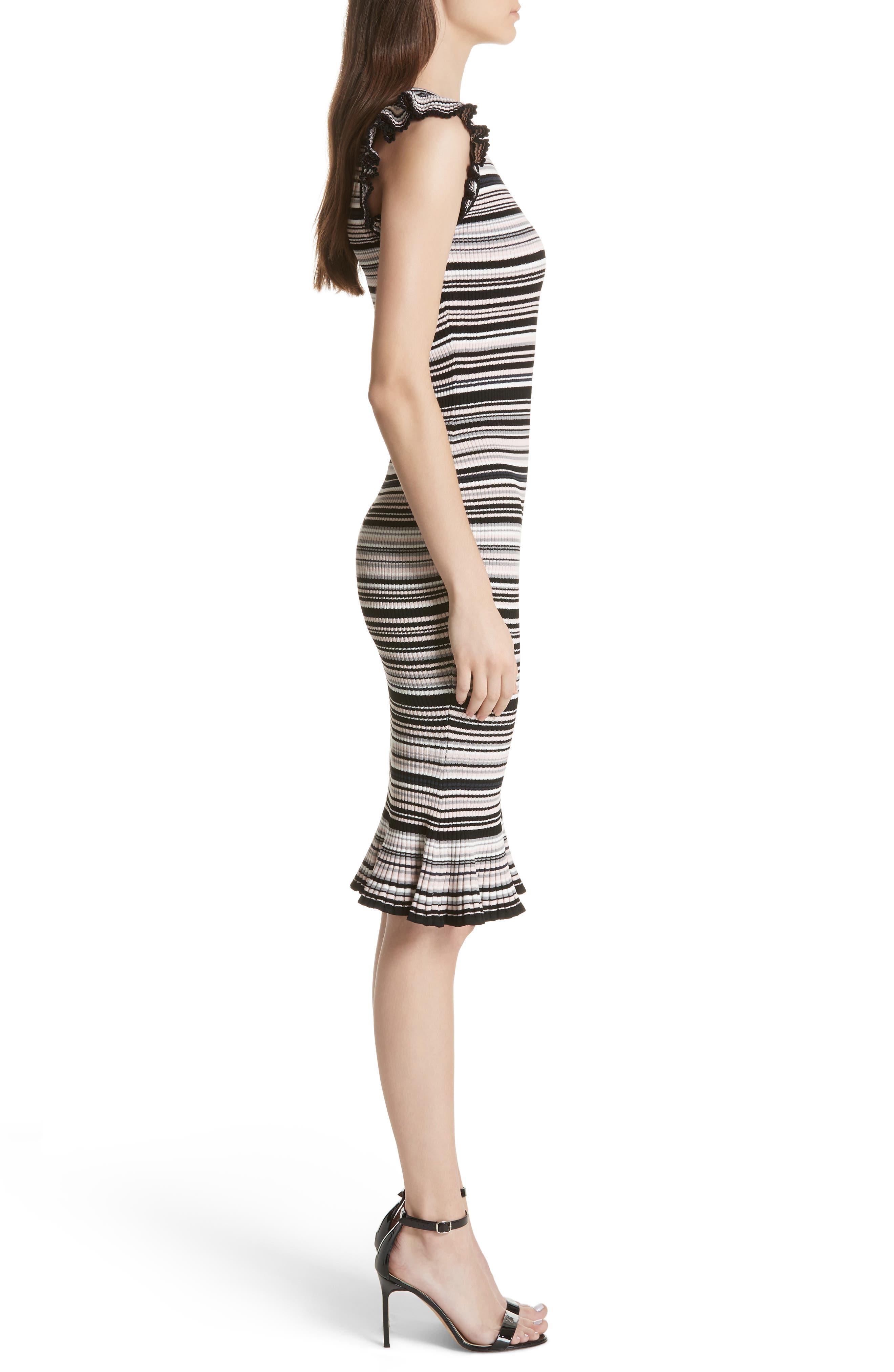 Microstripe Knit Mermaid Dress,                             Alternate thumbnail 3, color,                             Neutral Multi