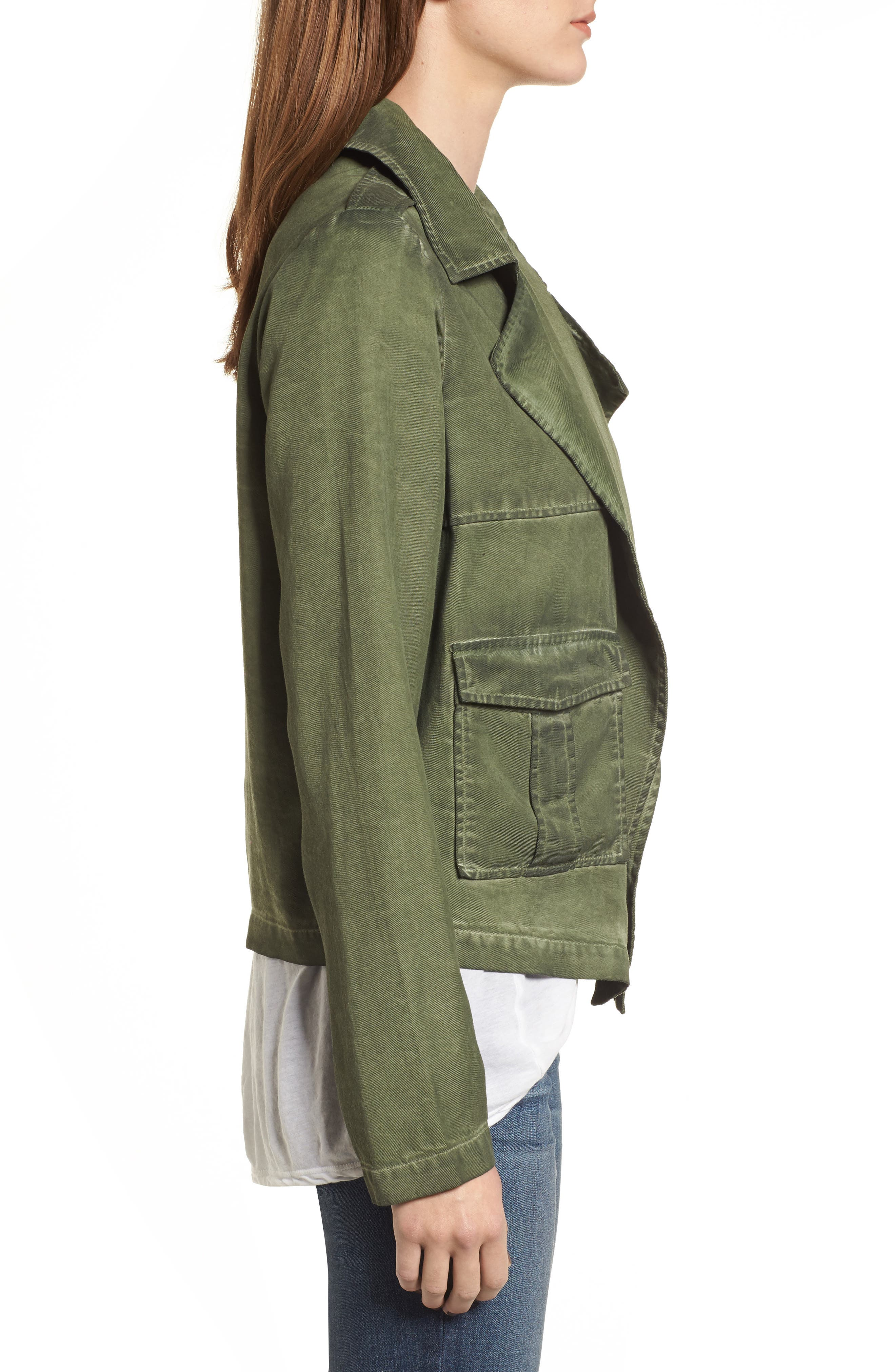 Draped Front Jacket,                             Alternate thumbnail 3, color,                             Olive