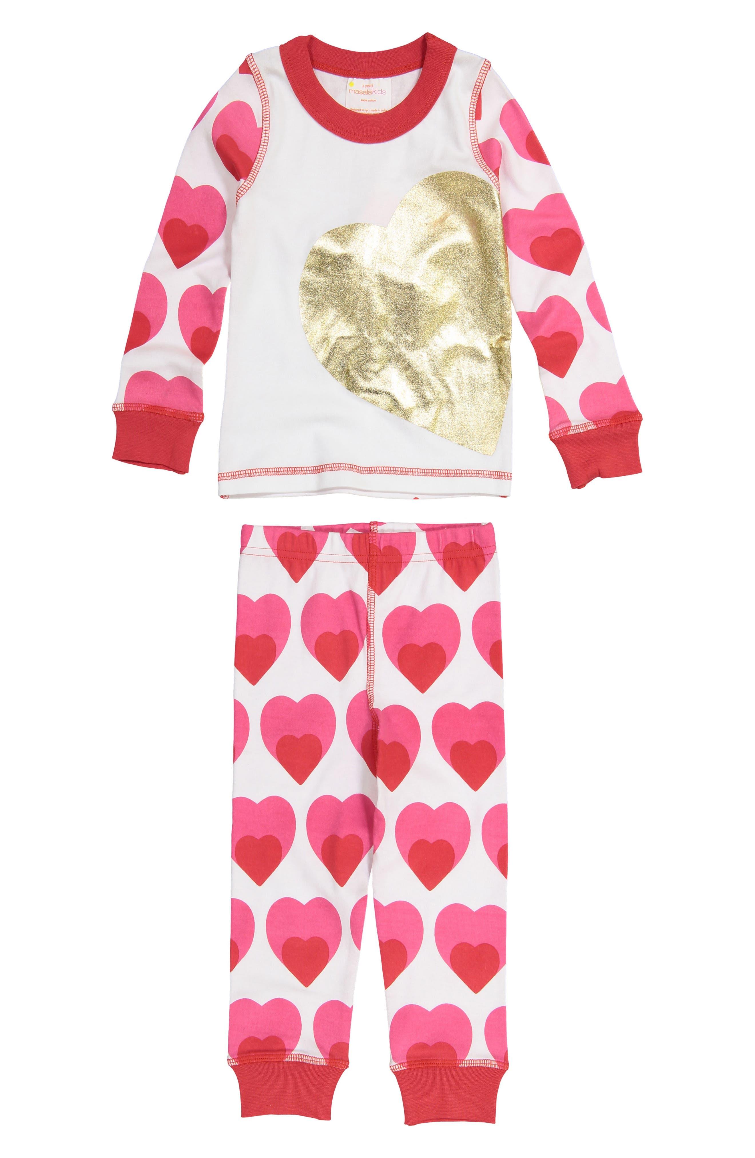 Main Image - Masalababy Big Love Fitted Two-Piece Pajamas (Toddler Girls, Little Girls & Big Girls)