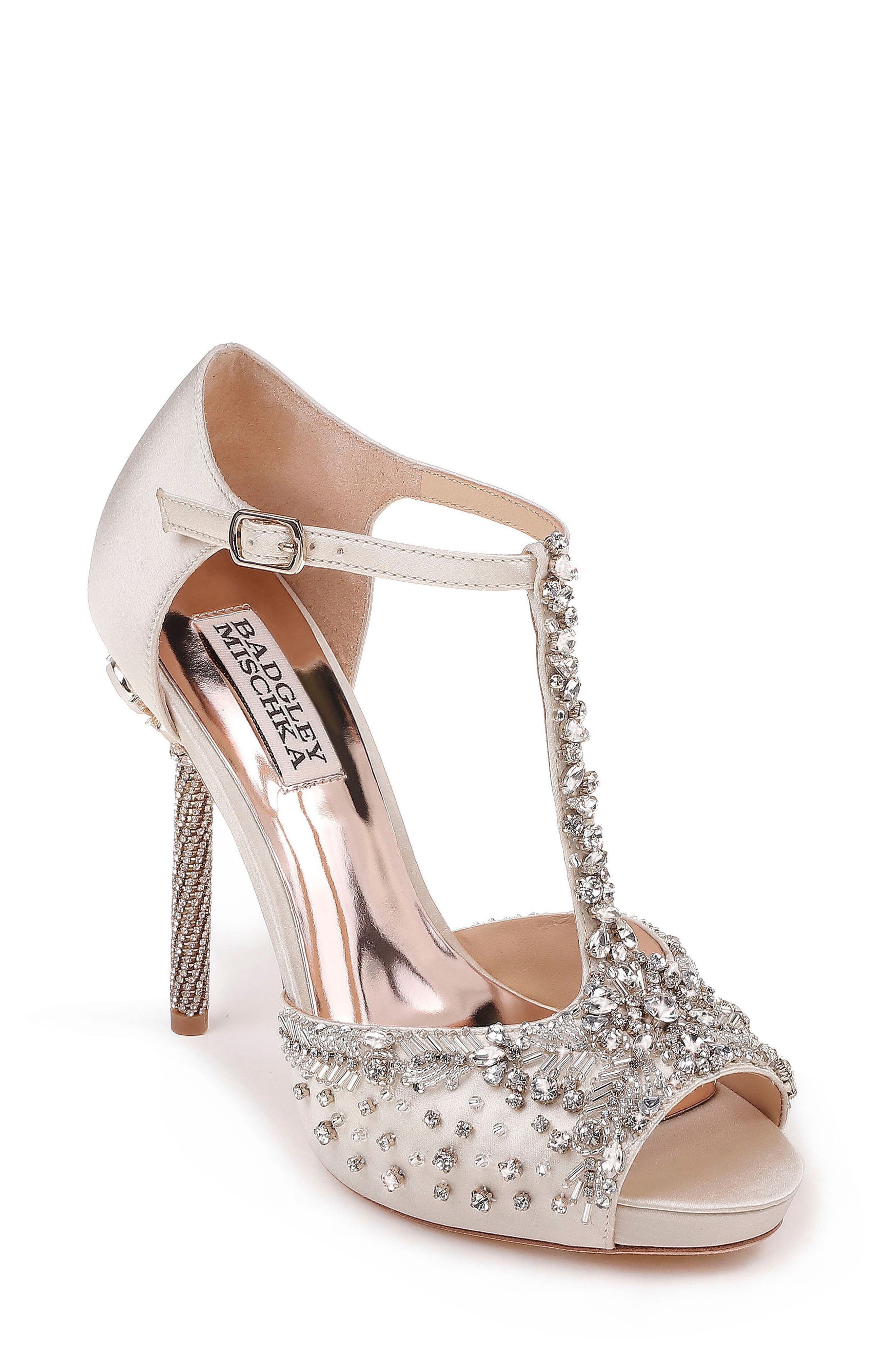 Stacey Crystal Embellished T-Strap Sandal,                         Main,                         color, Ivory Satin