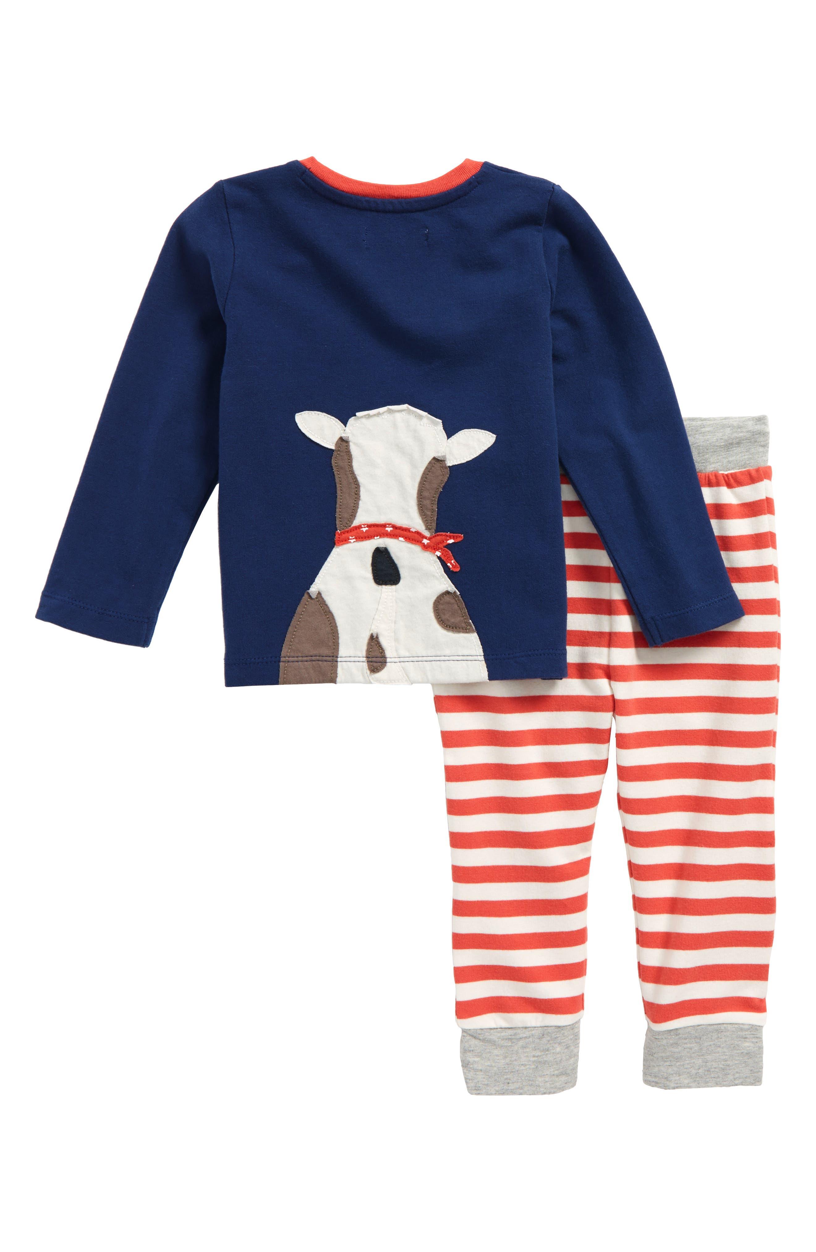 Appliqué T-Shirt & Pants Set,                             Alternate thumbnail 2, color,                             Beacon Blue Cow