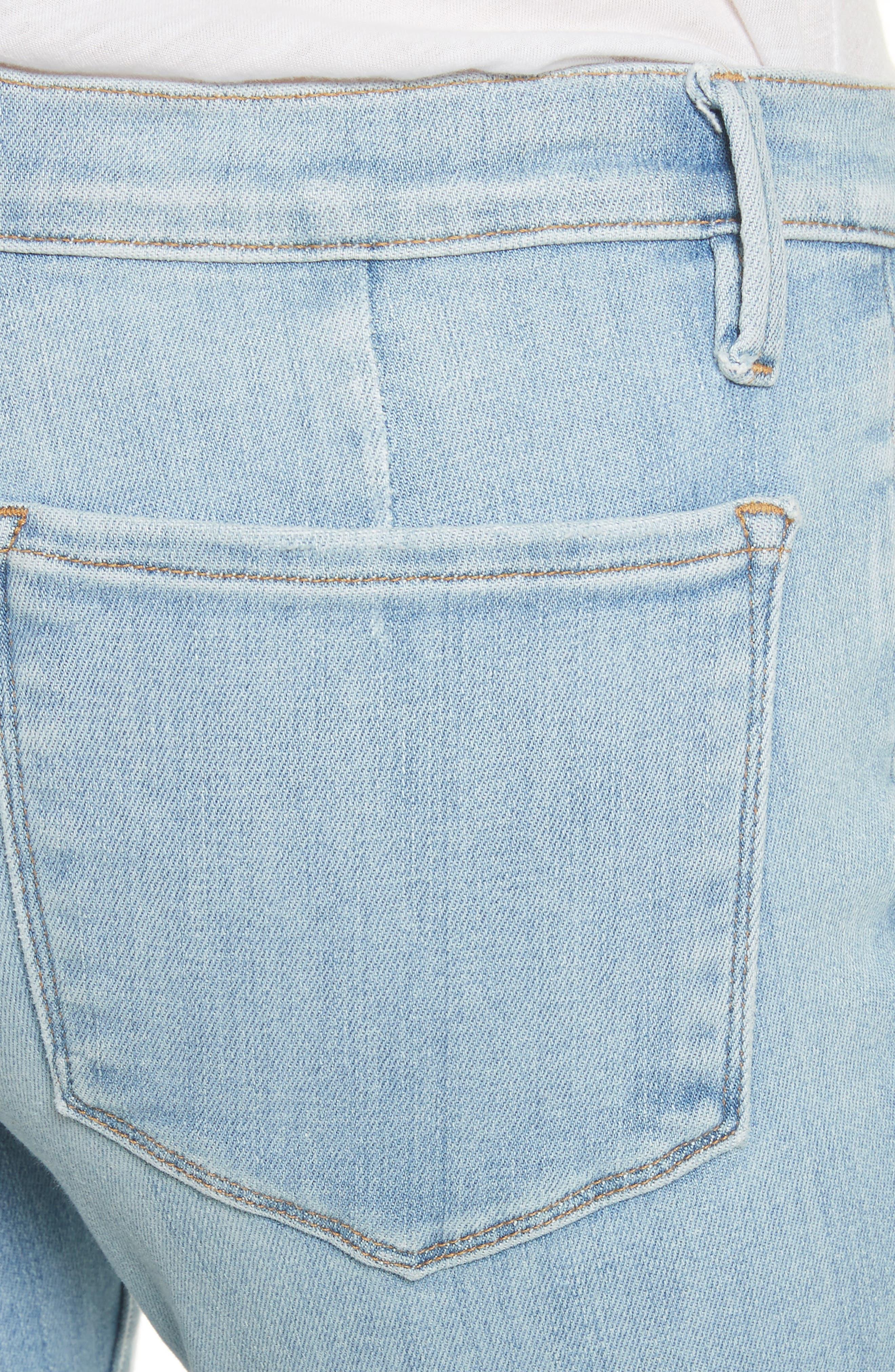 Le Skinny de Jeanne Flounce Skinny Jeans,                             Alternate thumbnail 4, color,                             Limer Stone