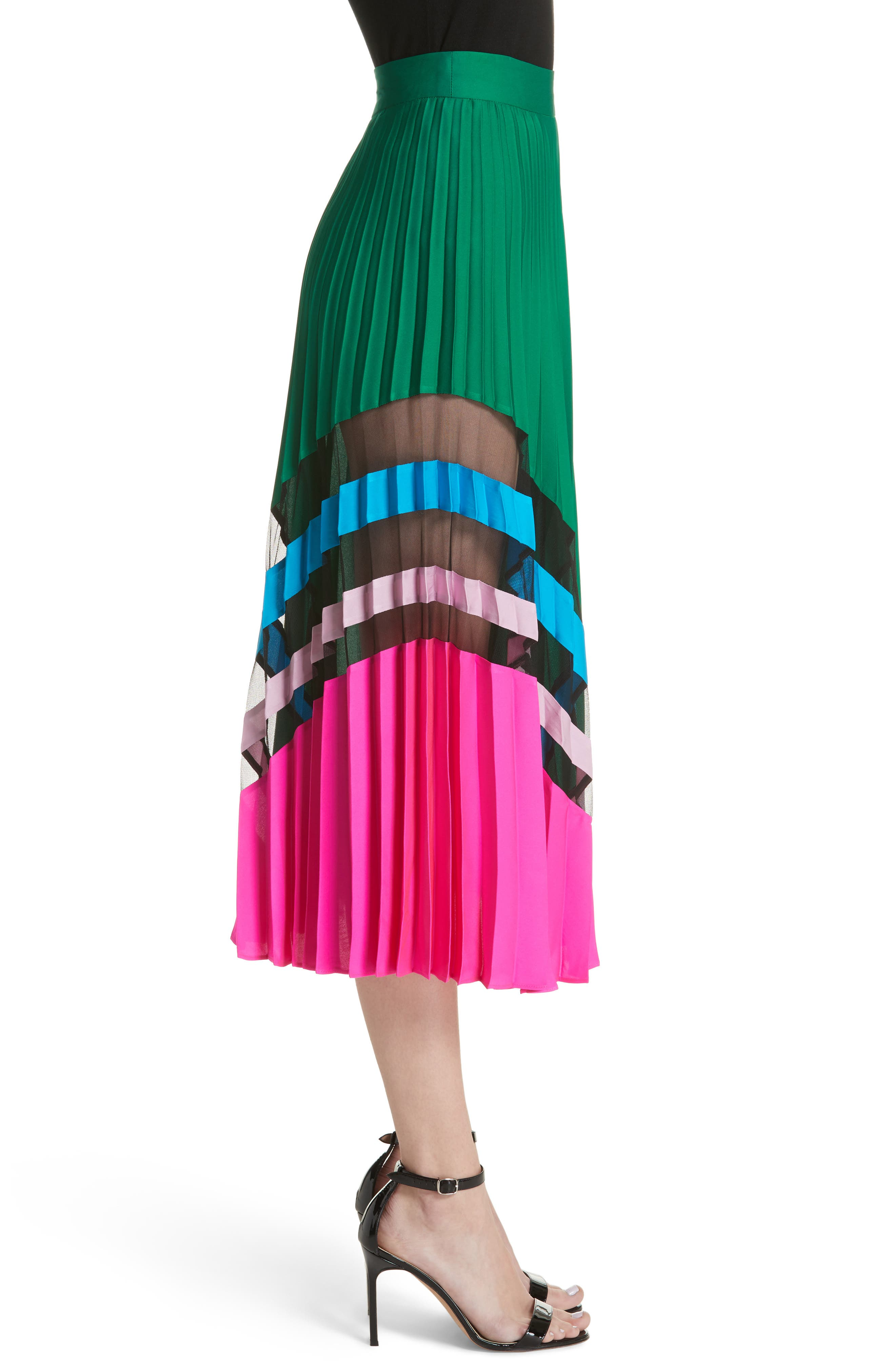 Pleated Maxi Skirt,                             Alternate thumbnail 3, color,                             Emerald Multi